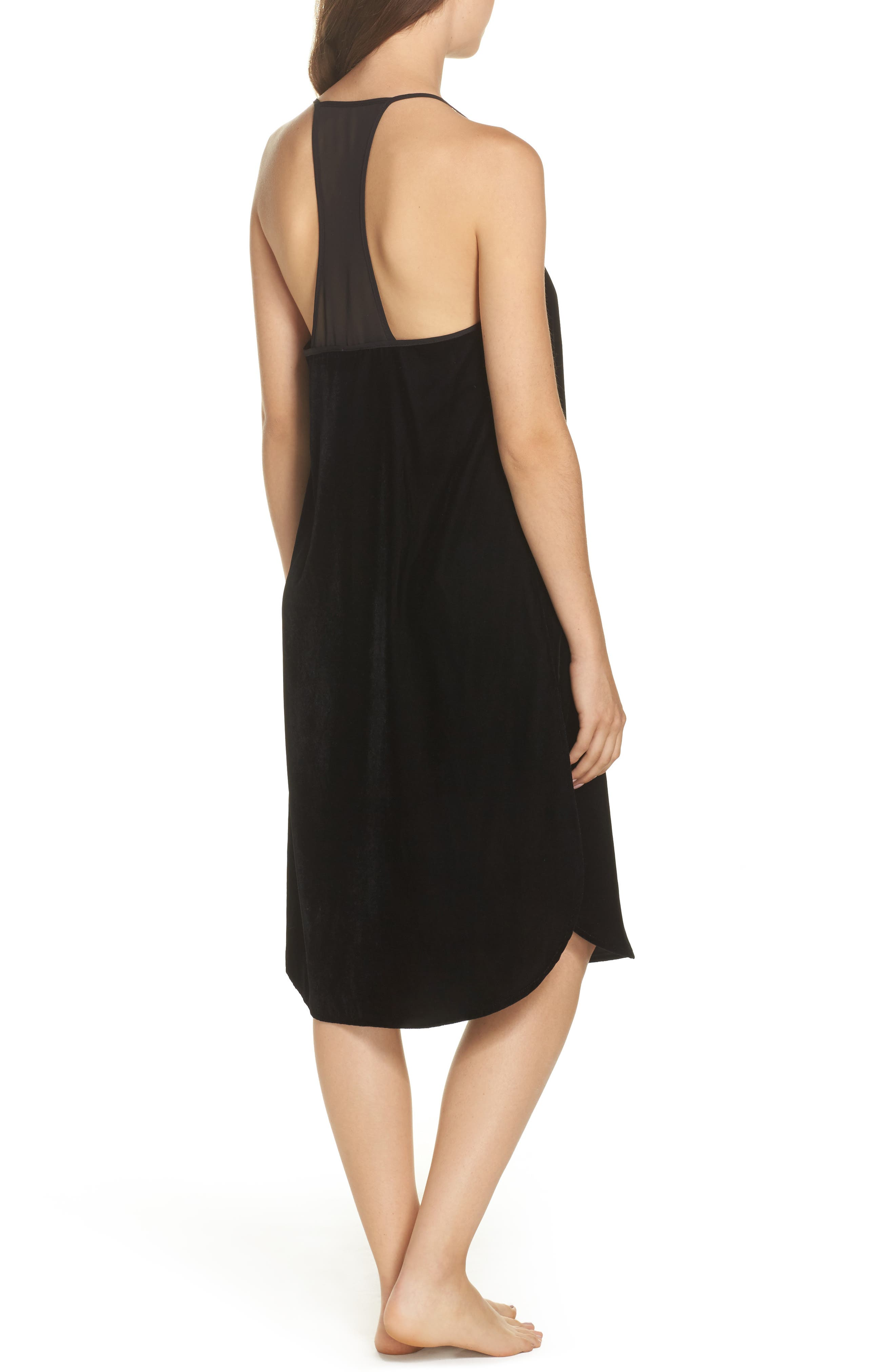 Velvet Chemise,                             Alternate thumbnail 2, color,                             Black