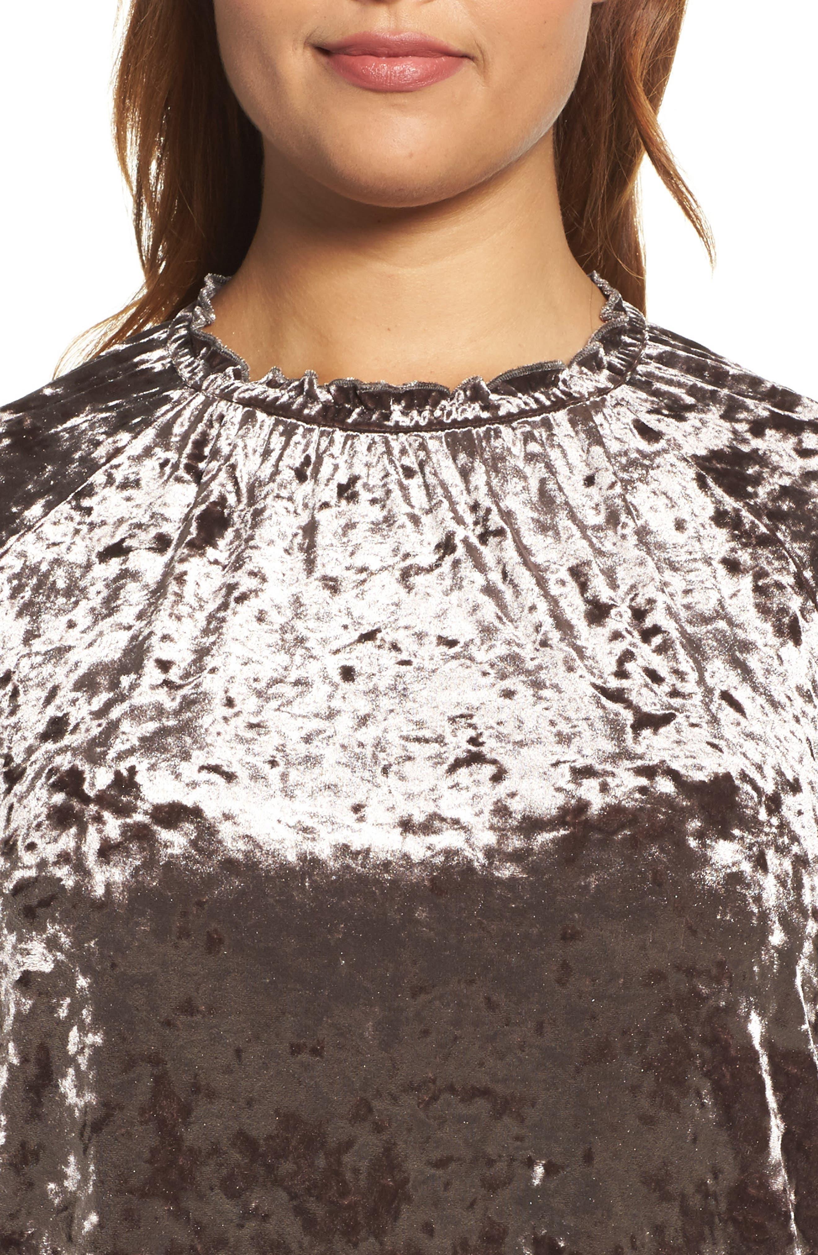 Alternate Image 4  - ELVI Drop Waist Crushed Velvet Dress (Plus Size)