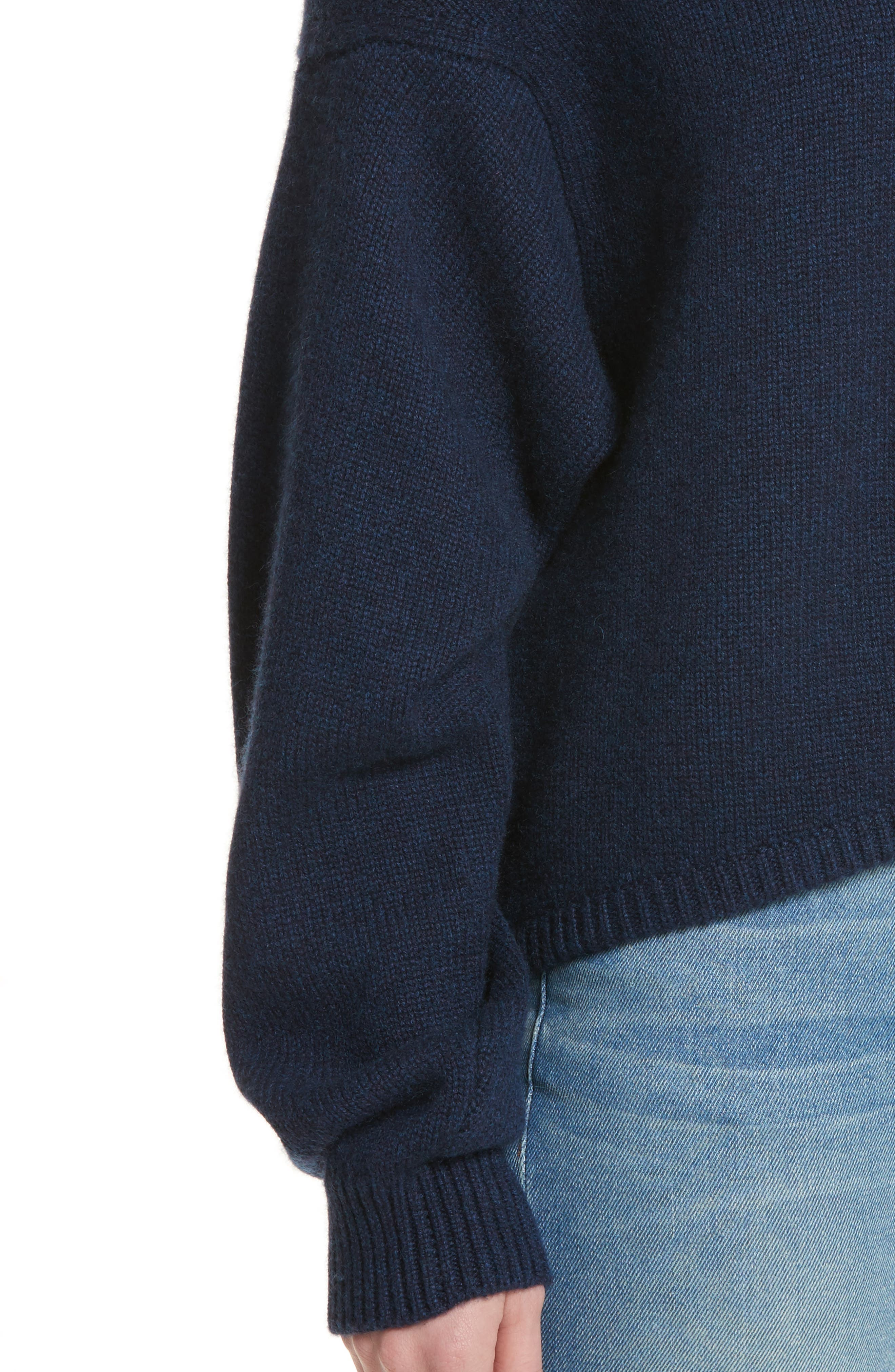 Sculpted Sleeve High/Low Cashmere Sweater,                             Alternate thumbnail 4, color,                             Navy