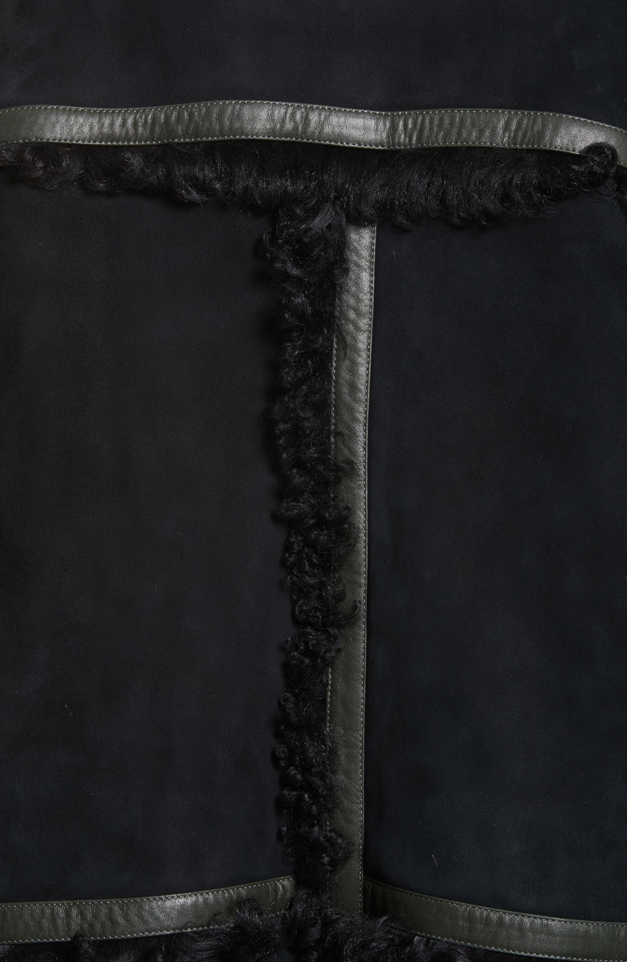 Genuine Shearling Coat,                             Alternate thumbnail 6, color,                             Noir