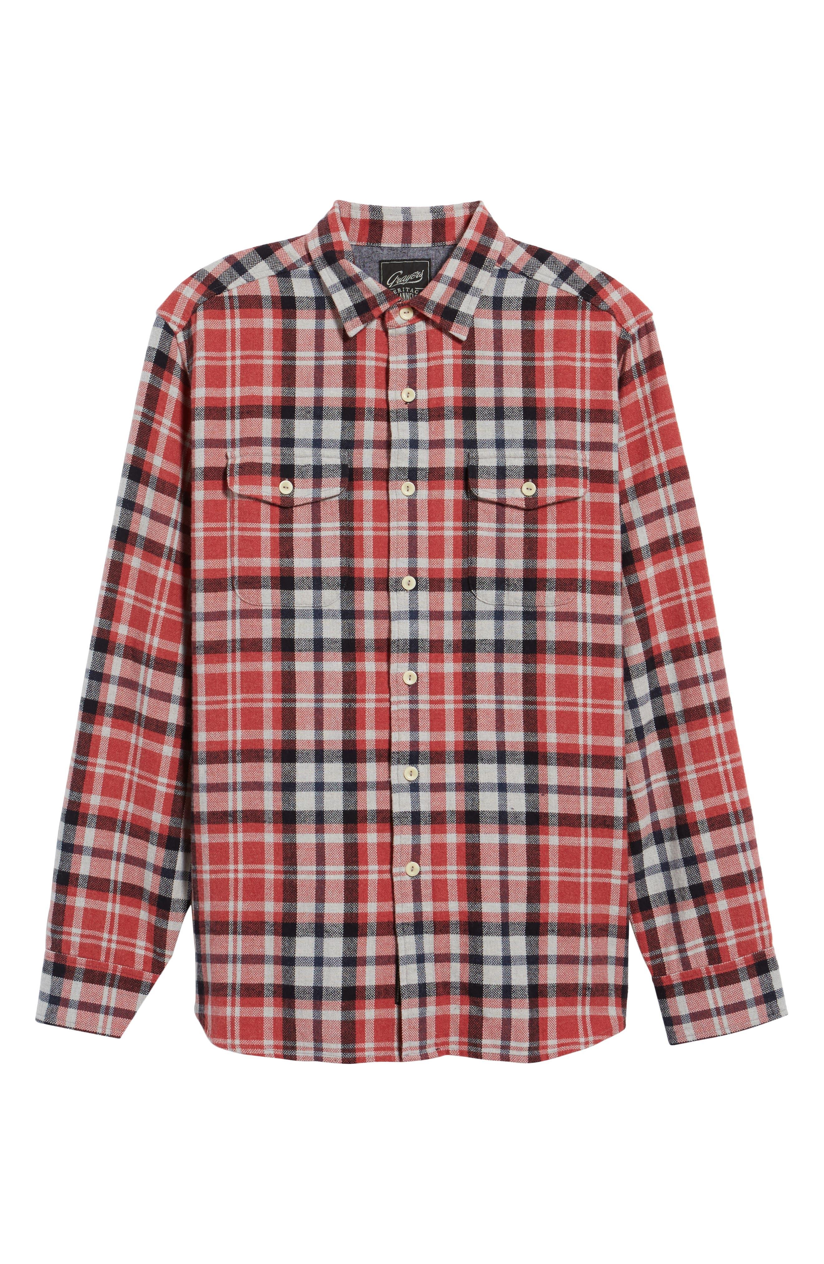 Brampton Textured Plaid Flannel Shirt,                             Alternate thumbnail 6, color,                             Red Stone Navy