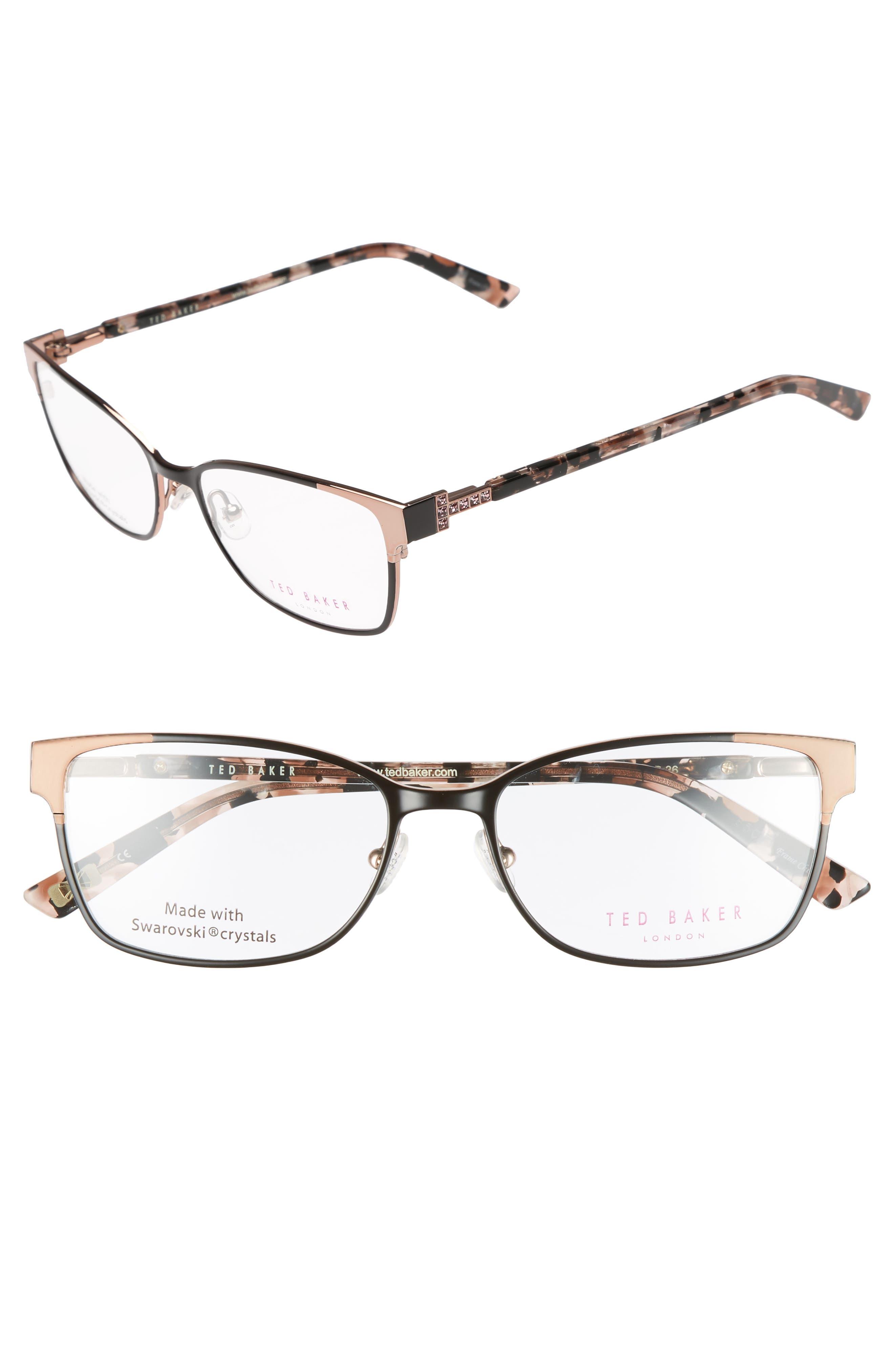 Ted Baker London 52mm Crystal Rectangular Optical Glasses