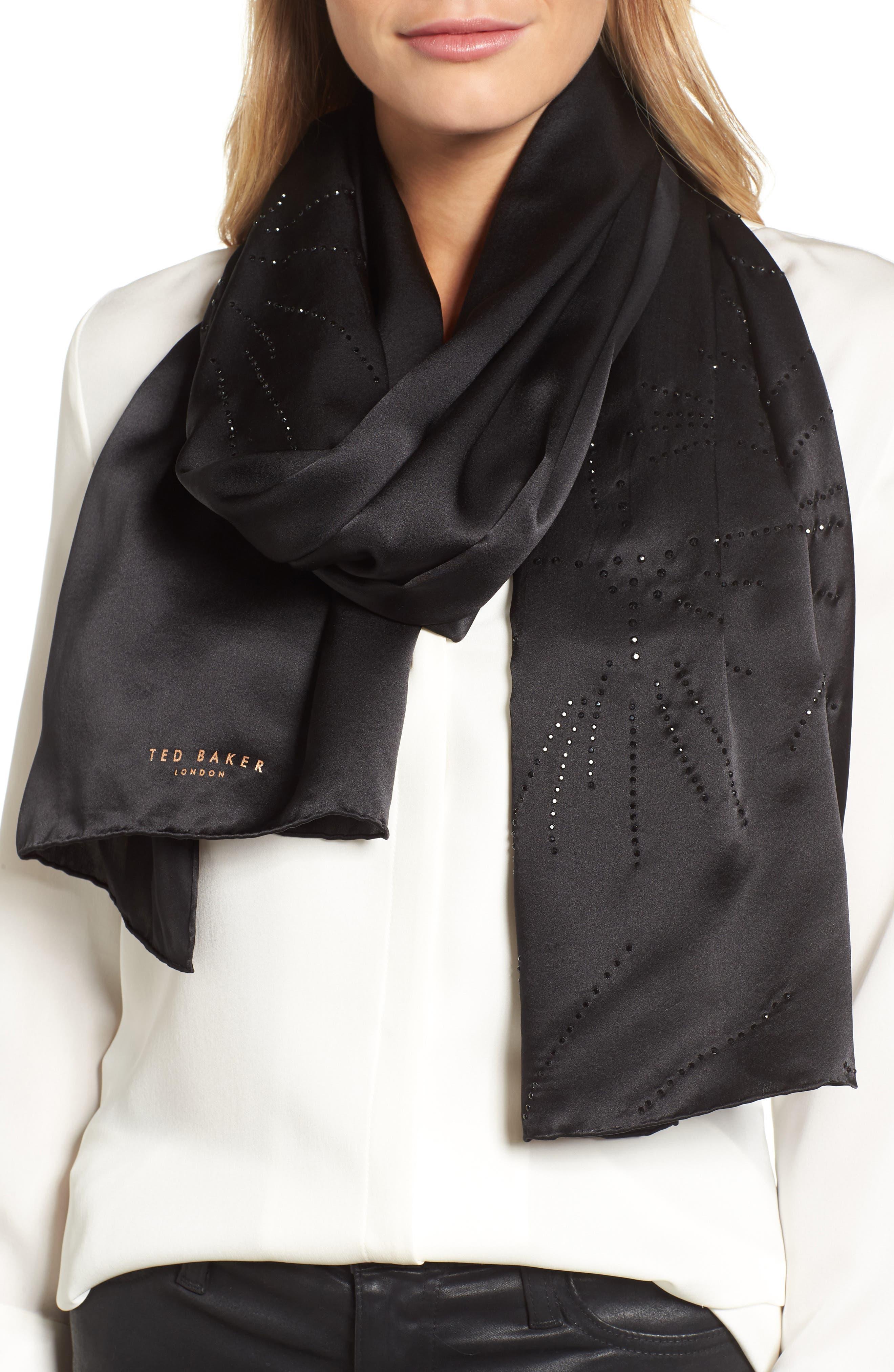 Stardust Hot Fix Silk Scarf,                         Main,                         color, 00-Black