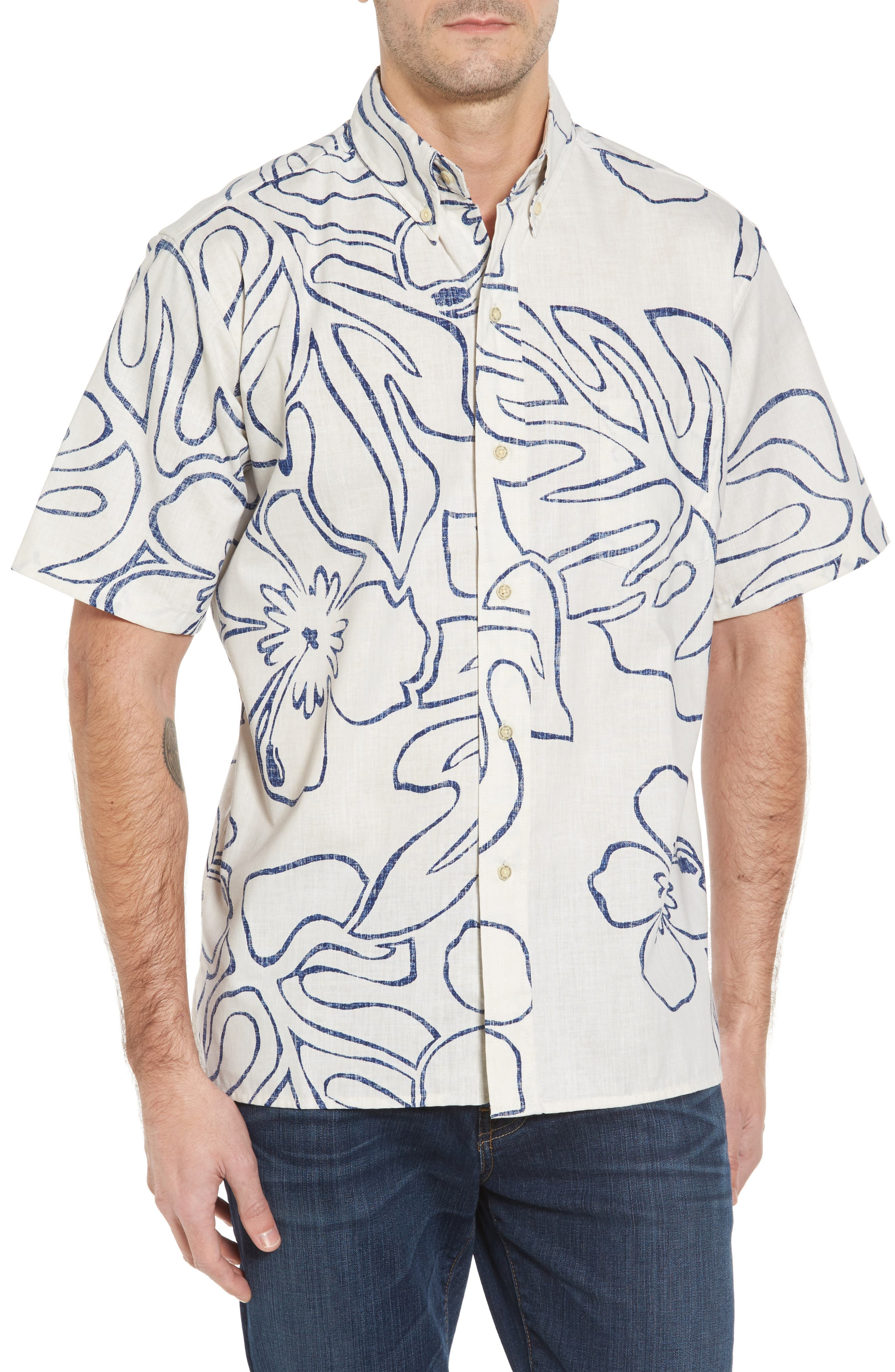 Reyn Spooner Monstera Ink Classic Fit Sport Shirt