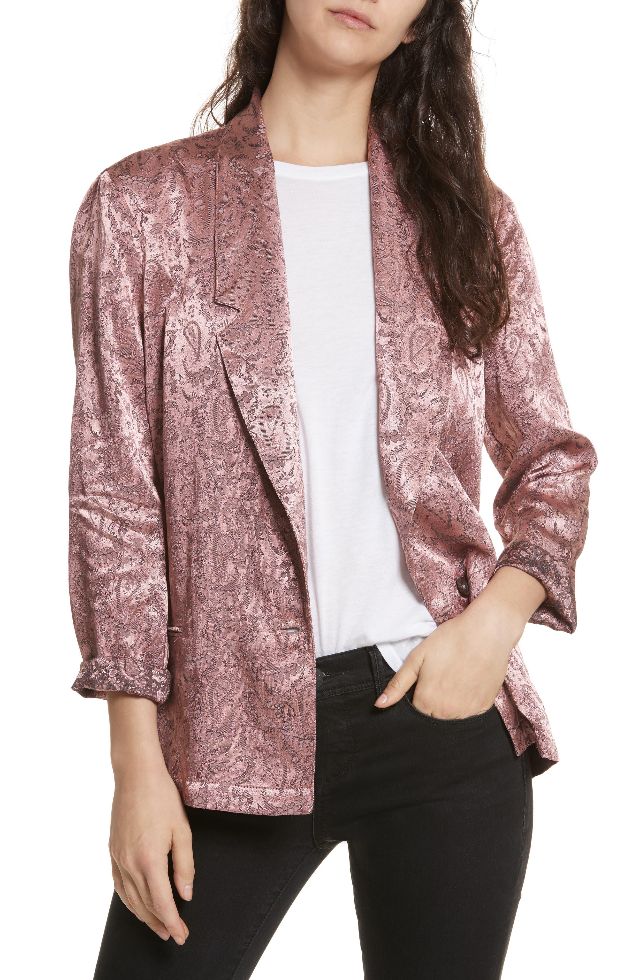 Jacquard Blazer,                         Main,                         color, Pink