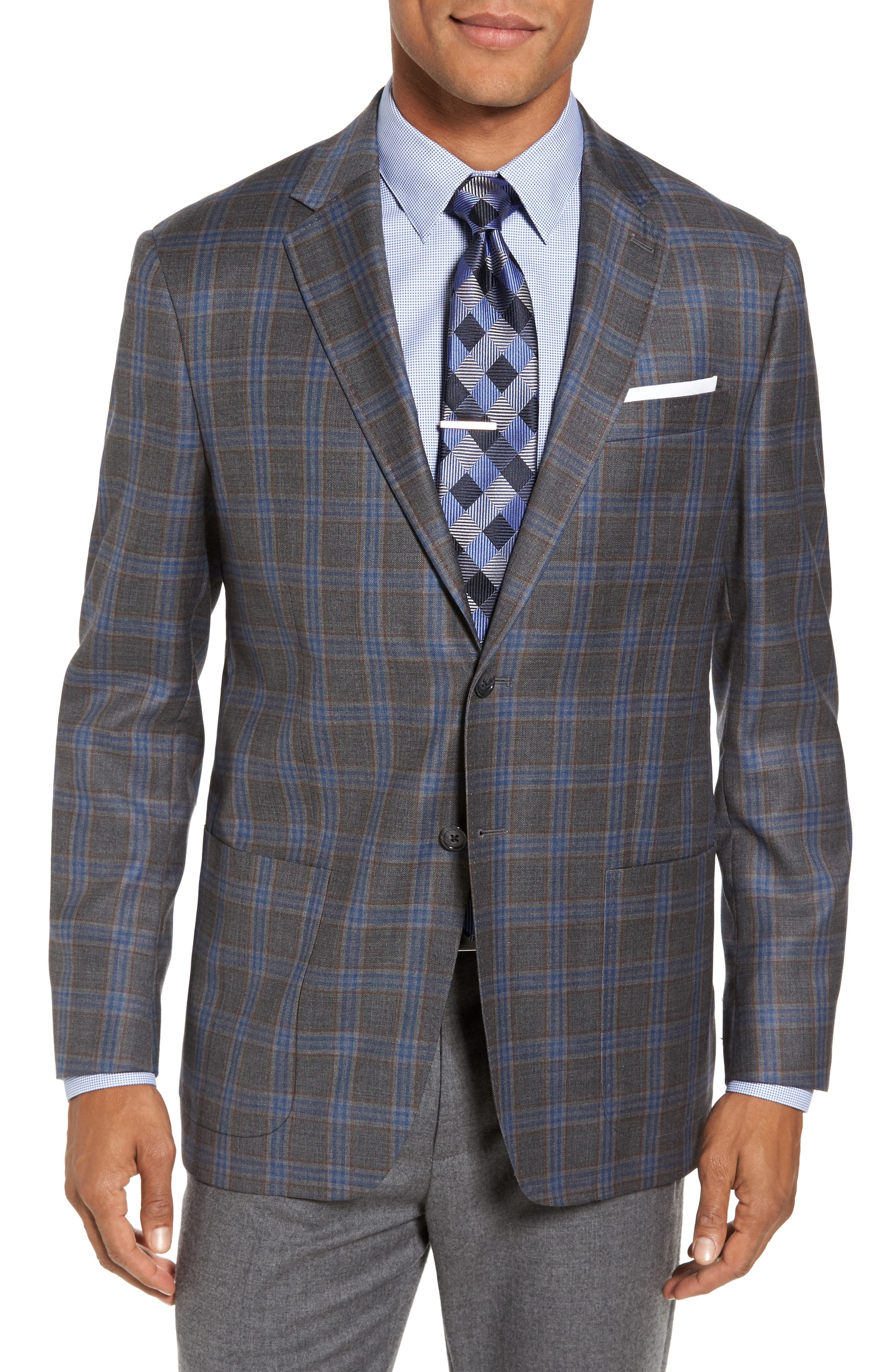 Plaid Wool Sport Coat,                         Main,                         color, Medium Grey