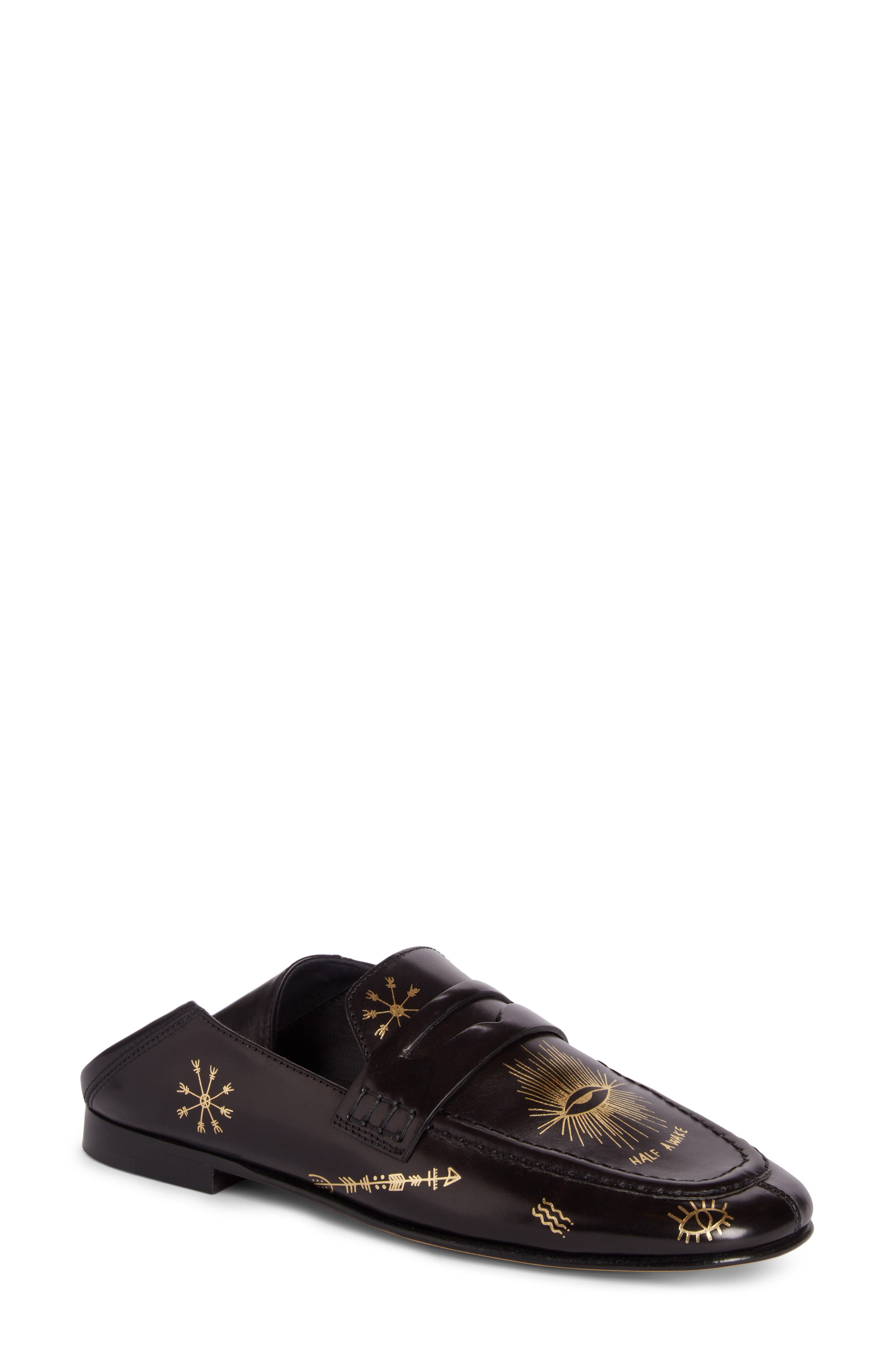 Fezzy Print Convertible Loafer,                             Main thumbnail 1, color,                             Metallic Black