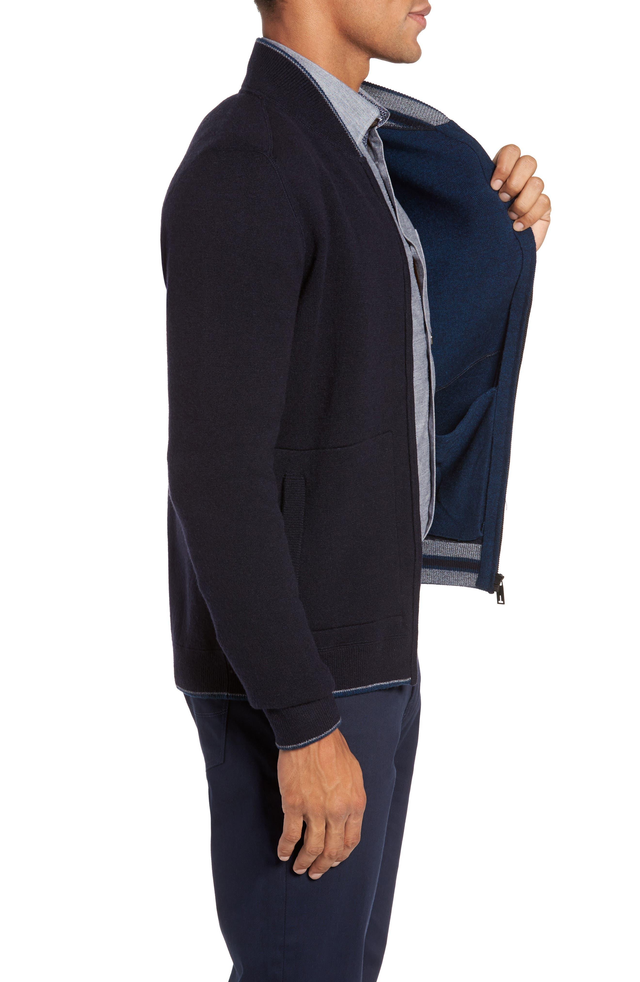 Merino Wool Baseball Sweater,                             Alternate thumbnail 3, color,                             Navy
