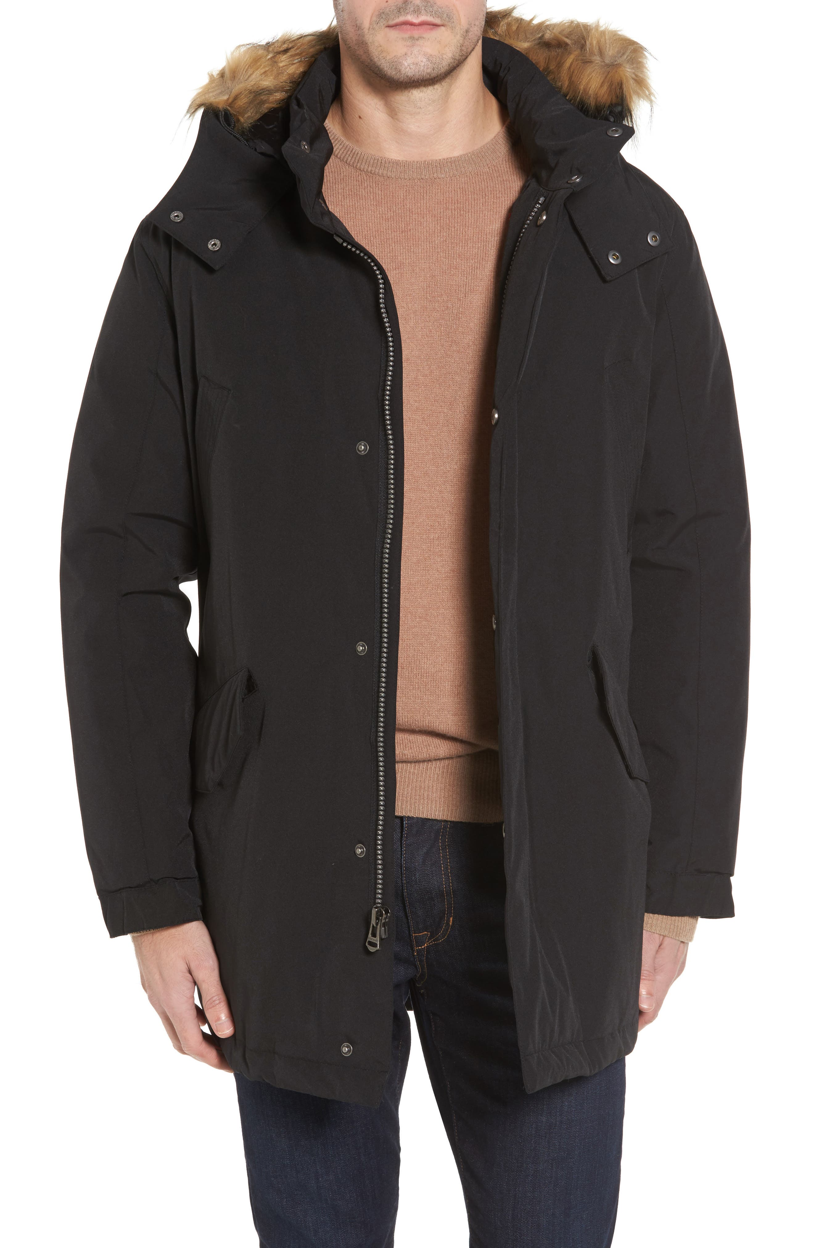 Cole Haan Faux Fur Trim Anorak