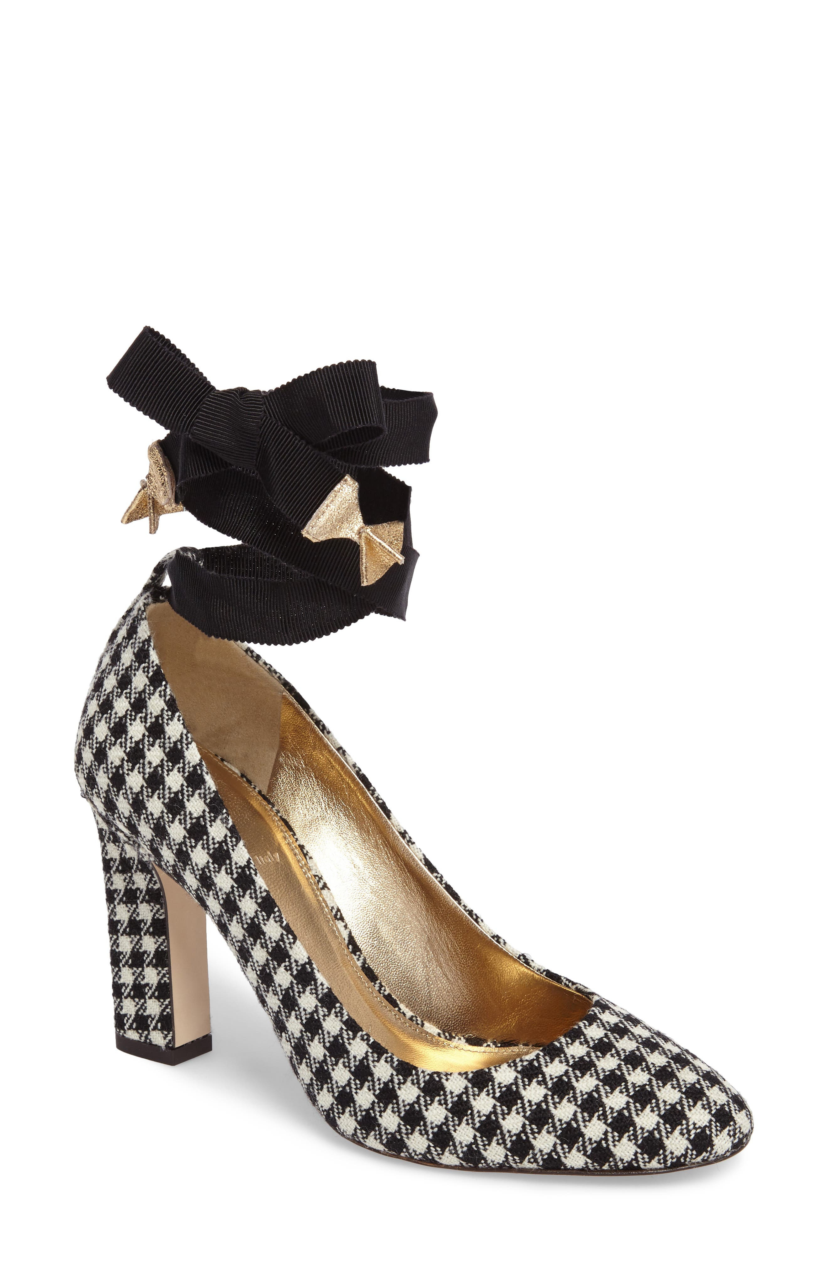 J. Crew Bell Ankle Tie Pump,                         Main,                         color, Black/ Ivory Fabric