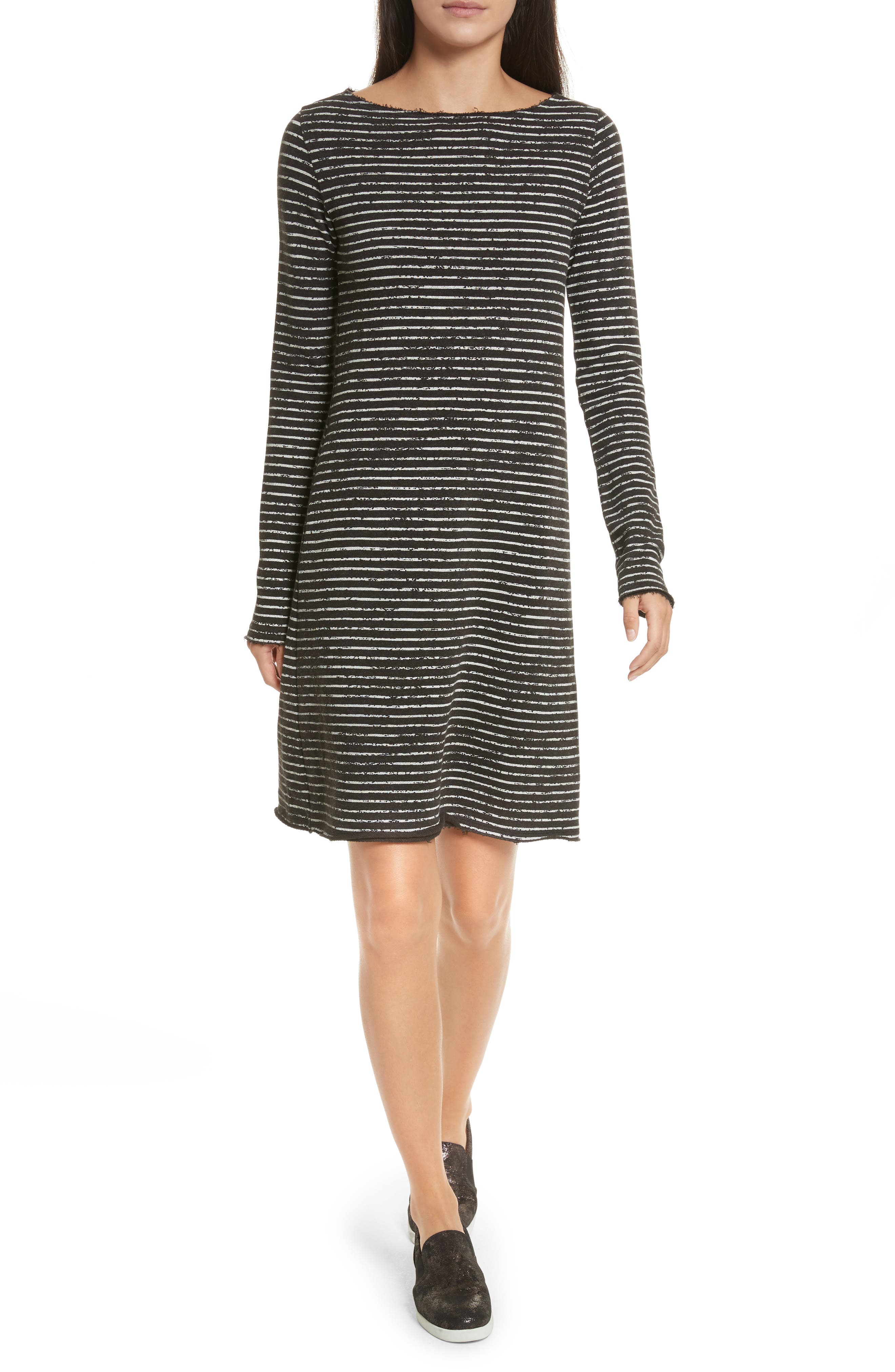 Broken Stripe French Terry Dress,                             Main thumbnail 1, color,                             Charcoal Combo Stripe