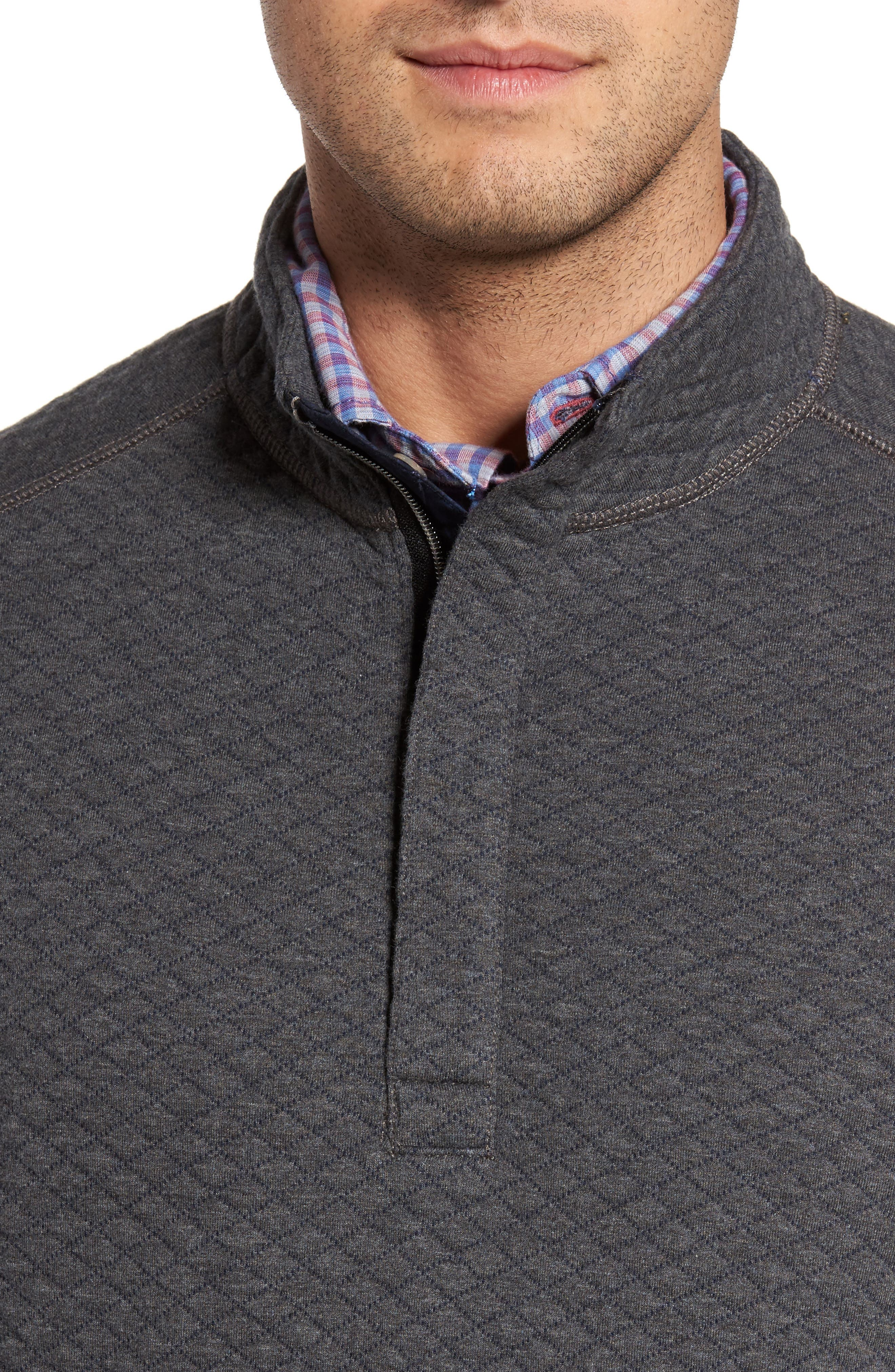Quiltessential Standard Fit Quarter Zip Pullover,                             Alternate thumbnail 4, color,                             Charcoal Heather