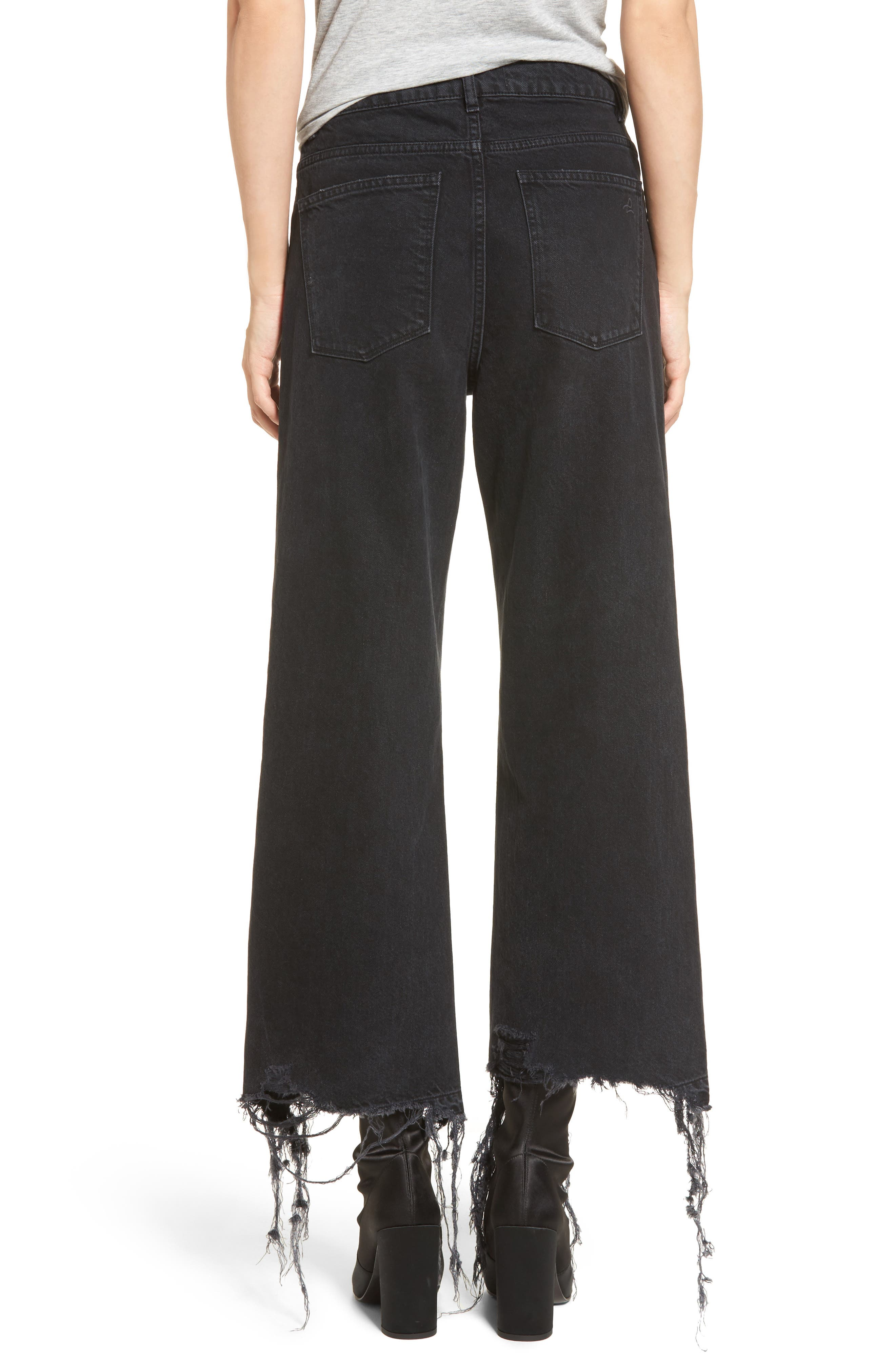 Hepburn High Waist Wide Leg Jeans,                             Alternate thumbnail 2, color,                             Savannah Destroy