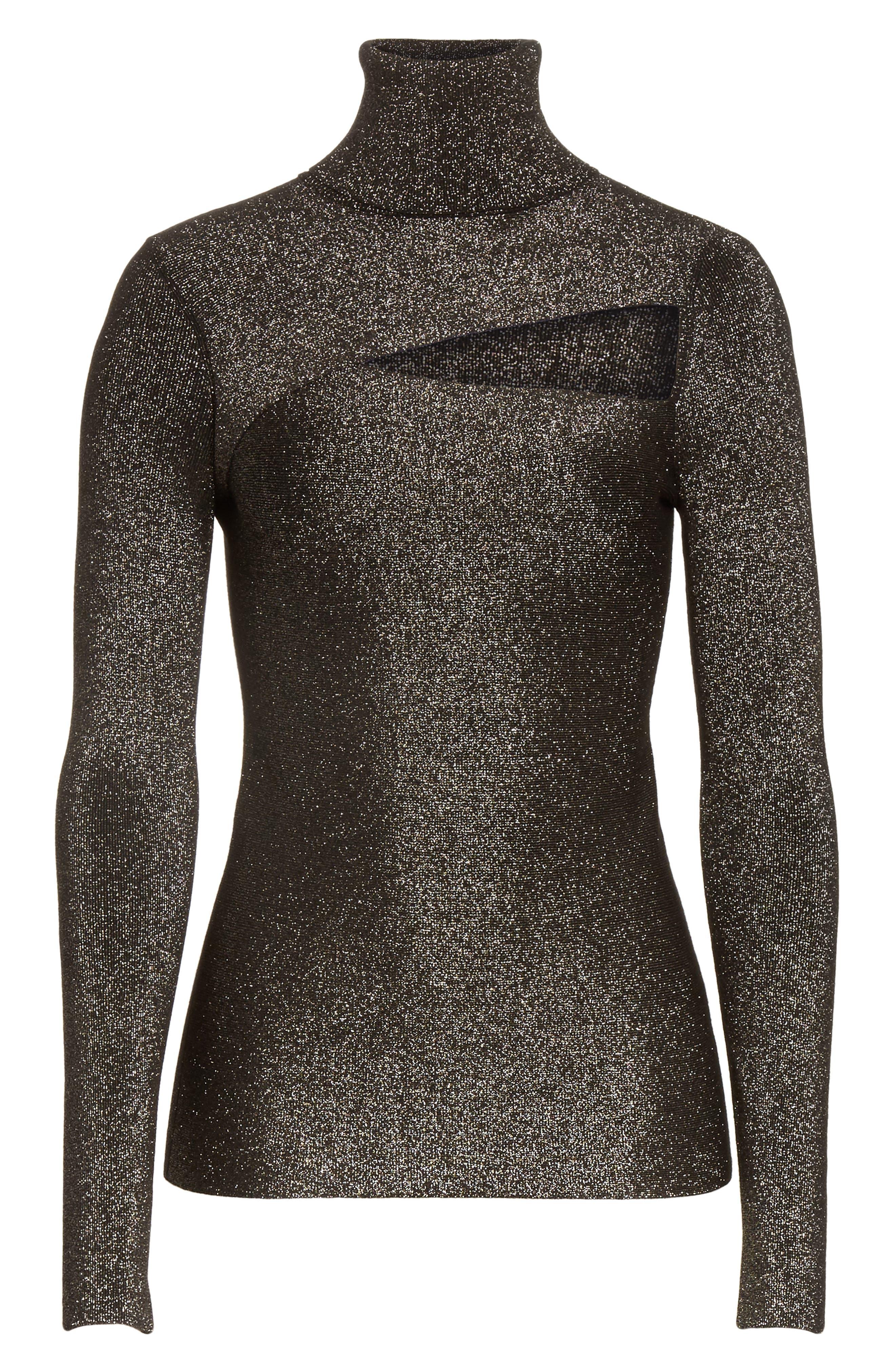 Camden Cutout Sweater,                             Alternate thumbnail 6, color,                             Black/ Gold