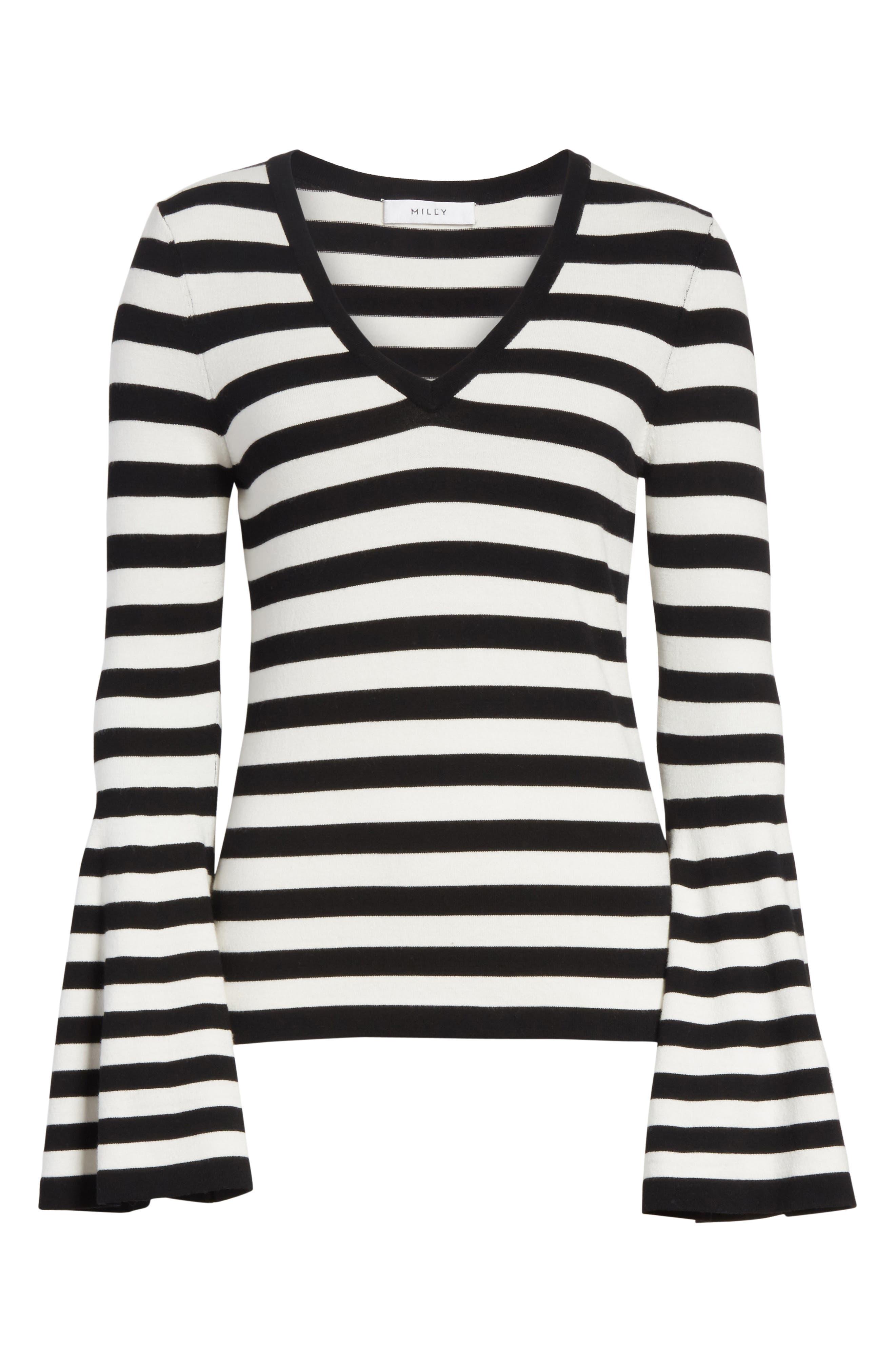 Bell Sleeve V-Neck Sweater,                             Alternate thumbnail 7, color,                             Black/ White