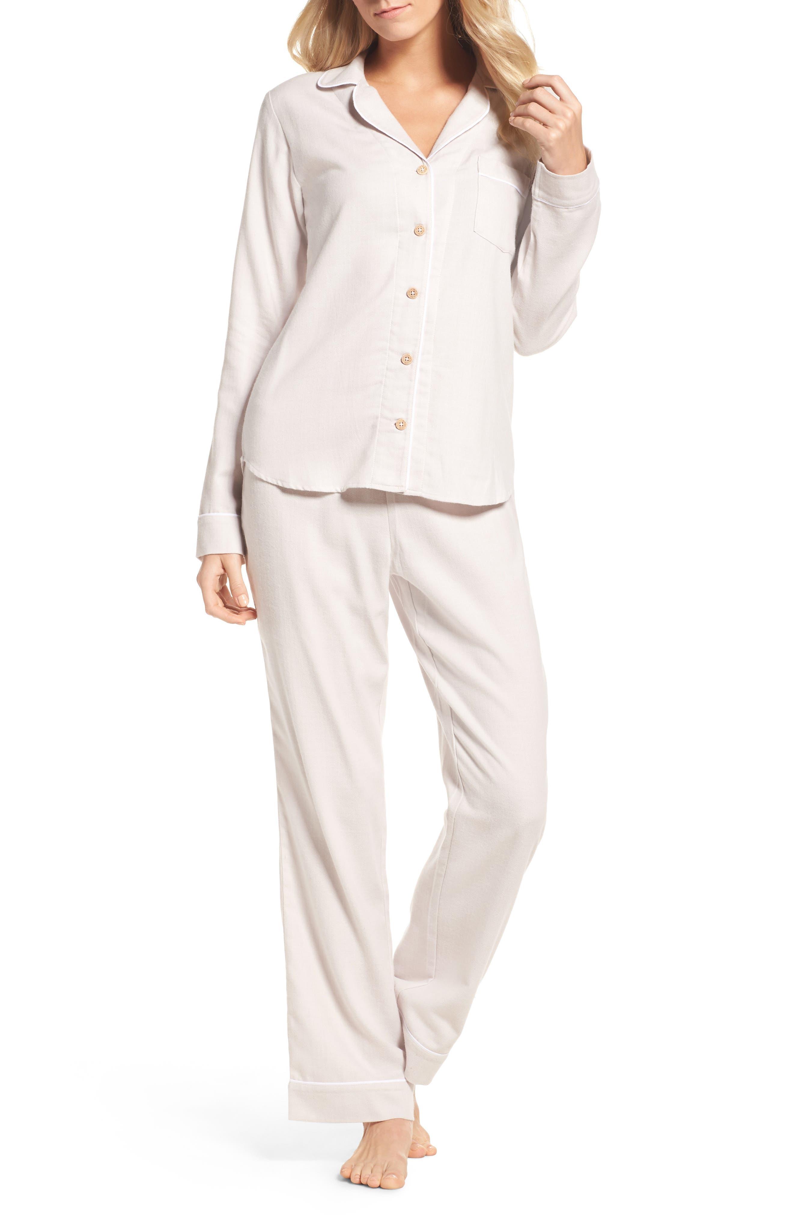 Raven Herringbone Pajamas,                             Main thumbnail 1, color,                             Ivory