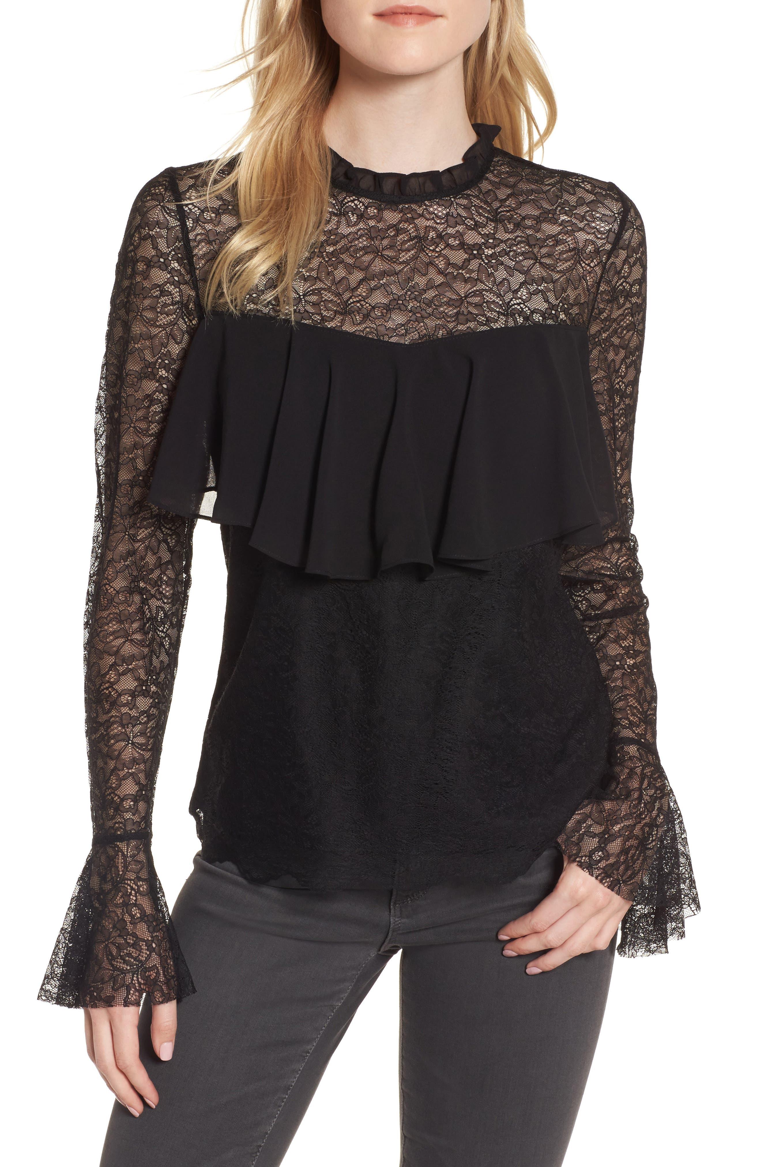 Ruffle Lace Top,                         Main,                         color, Black