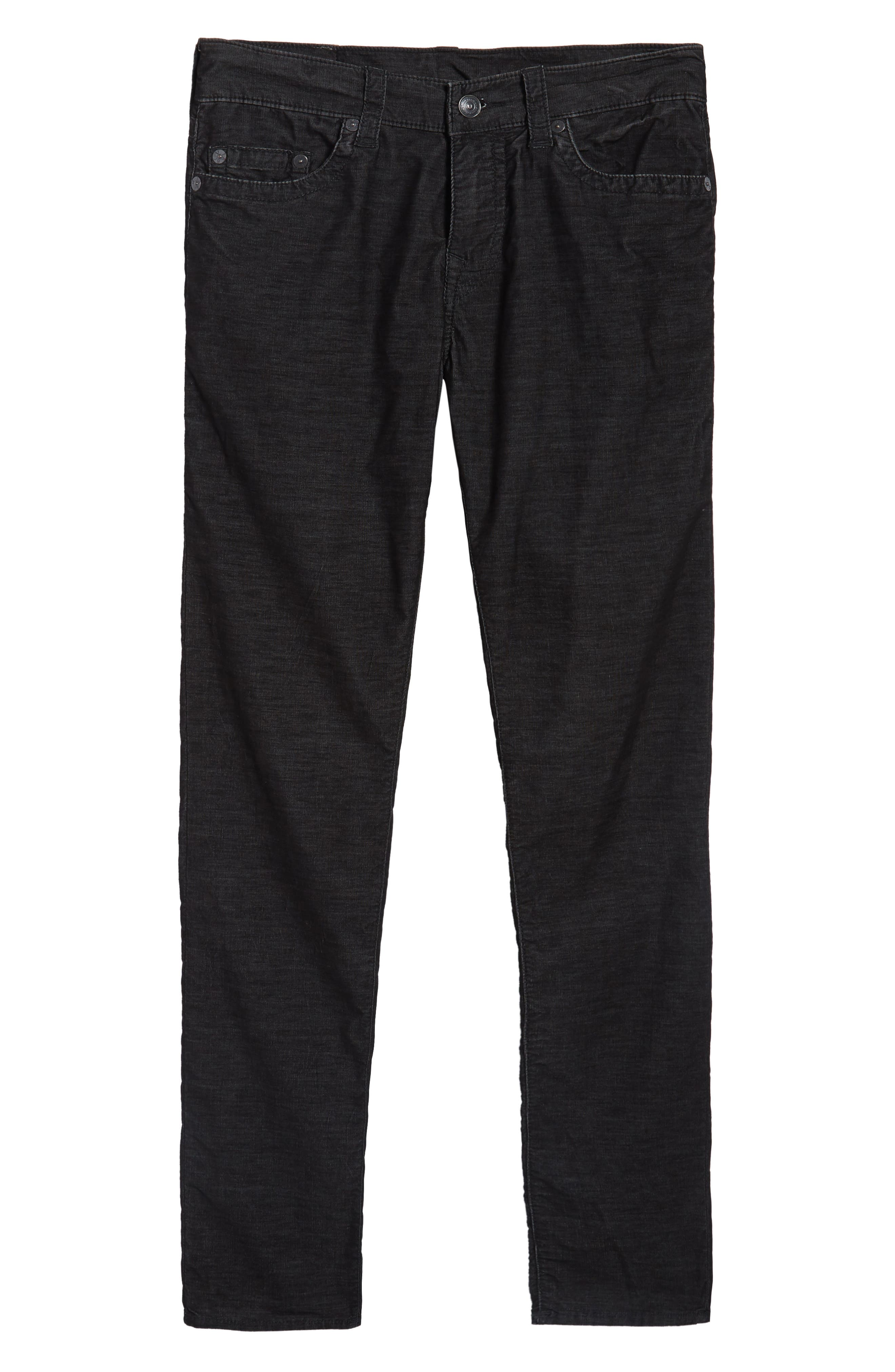 Rocco Skinny Fit Corduroy Jeans,                             Alternate thumbnail 6, color,                             Black