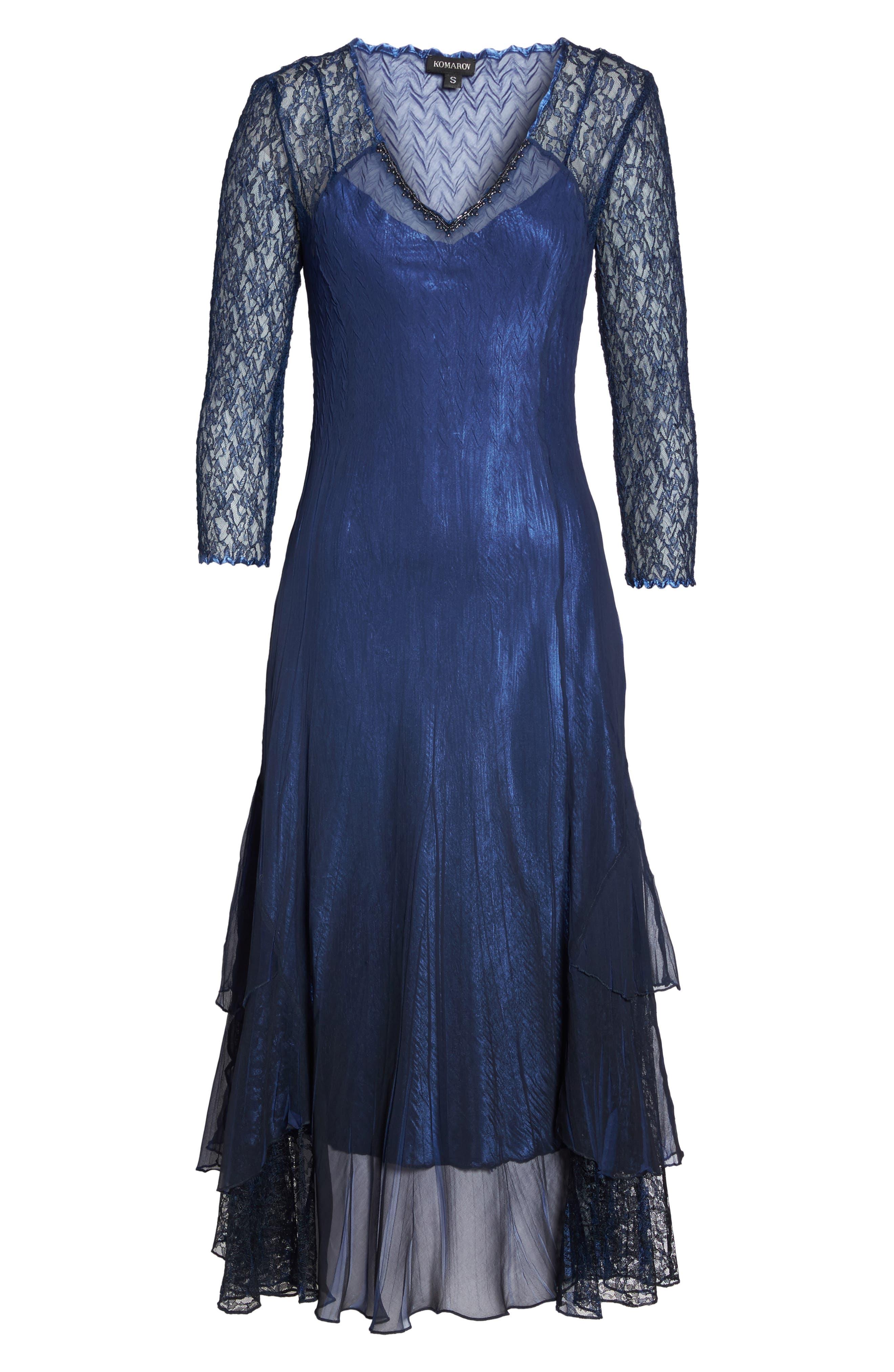 Alternate Image 6  - Komarov Ombré Lace & Chiffon Midi Dress (Regular & Petite)