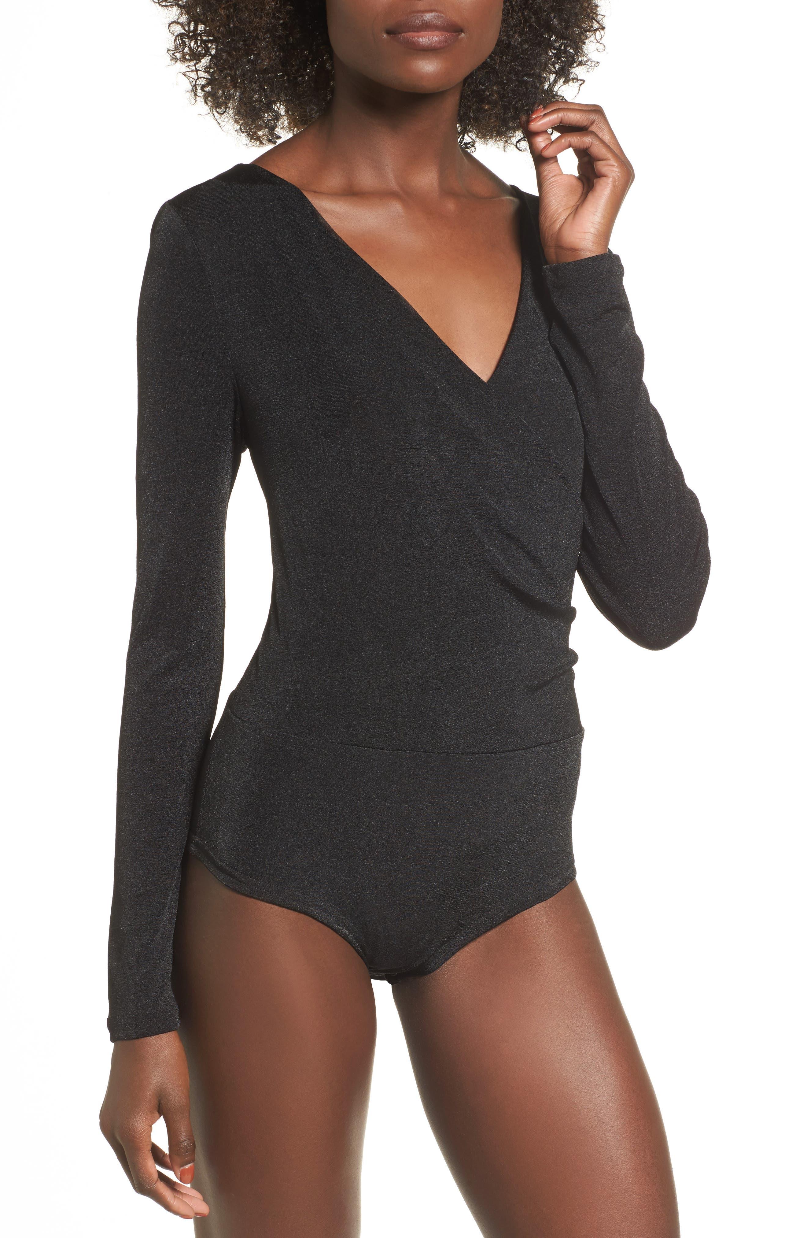 Surplice Bodysuit,                             Alternate thumbnail 4, color,                             Black