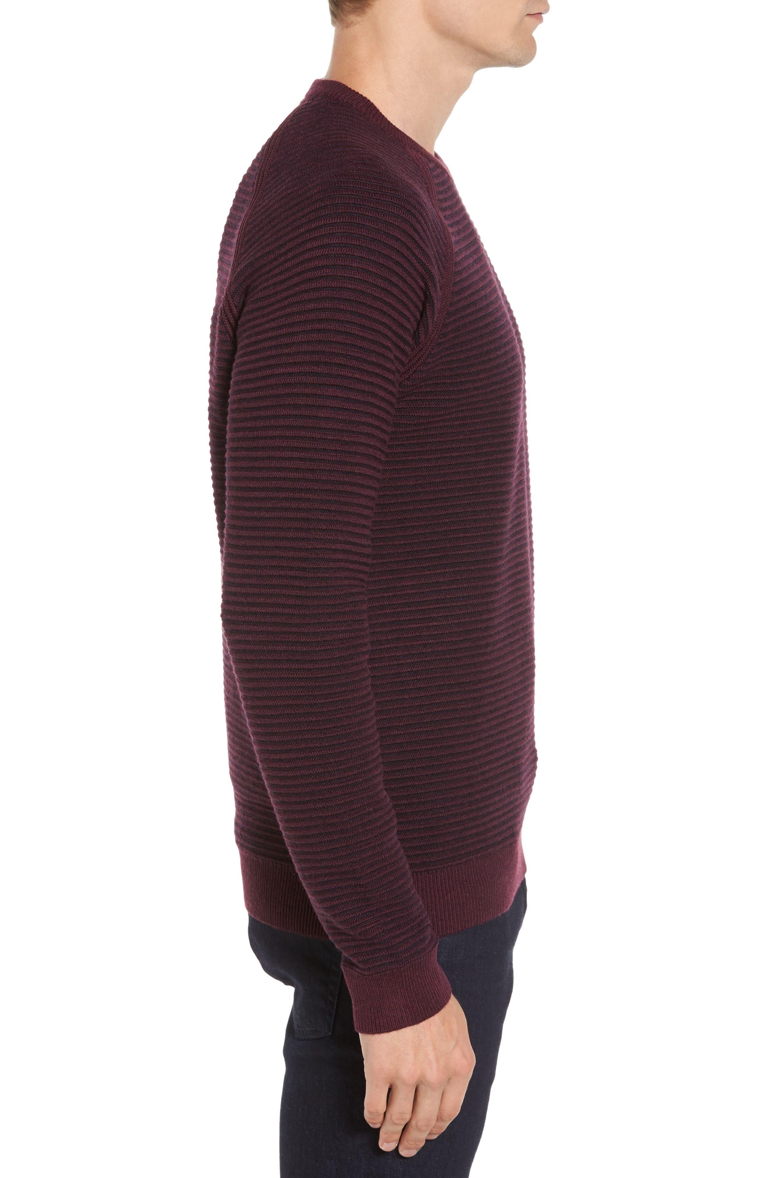 Cashoo Slim Fit Ribbed Sweatshirt,                             Alternate thumbnail 3, color,                             Purple