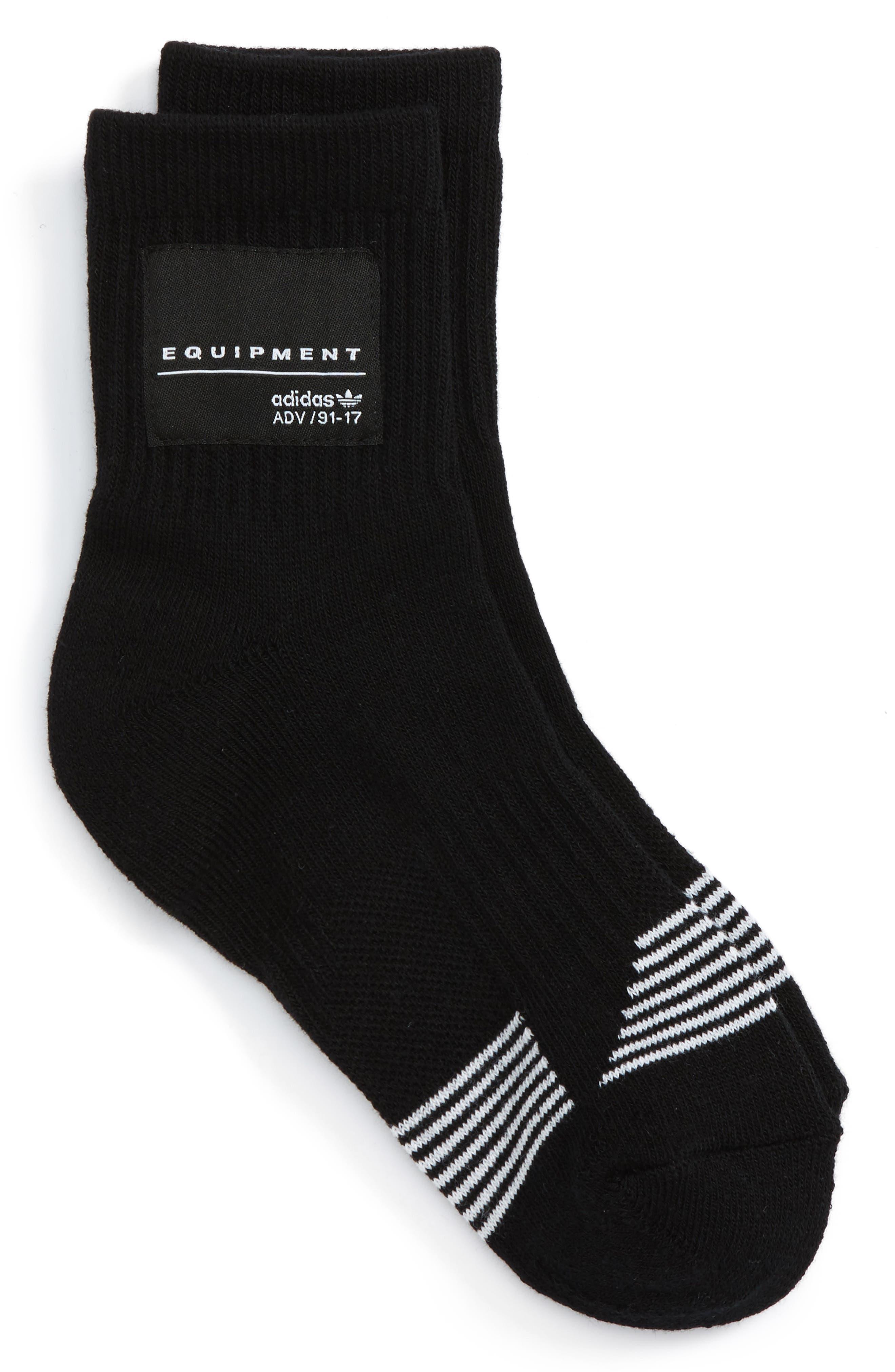 Equipment Crew Socks,                             Main thumbnail 1, color,                             Black/ White