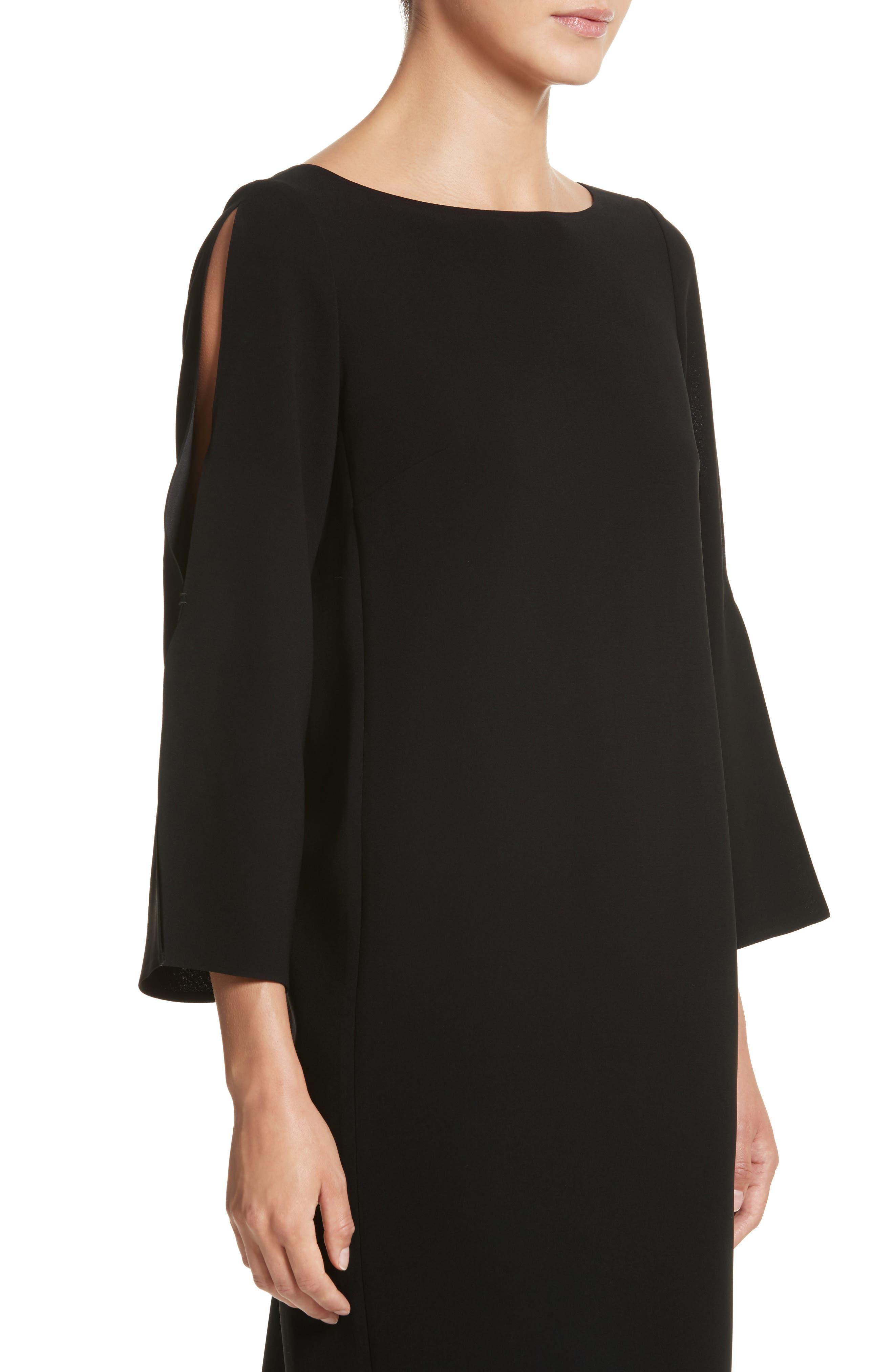 Candace Finesse Crepe Shift Dress,                             Alternate thumbnail 4, color,                             Black