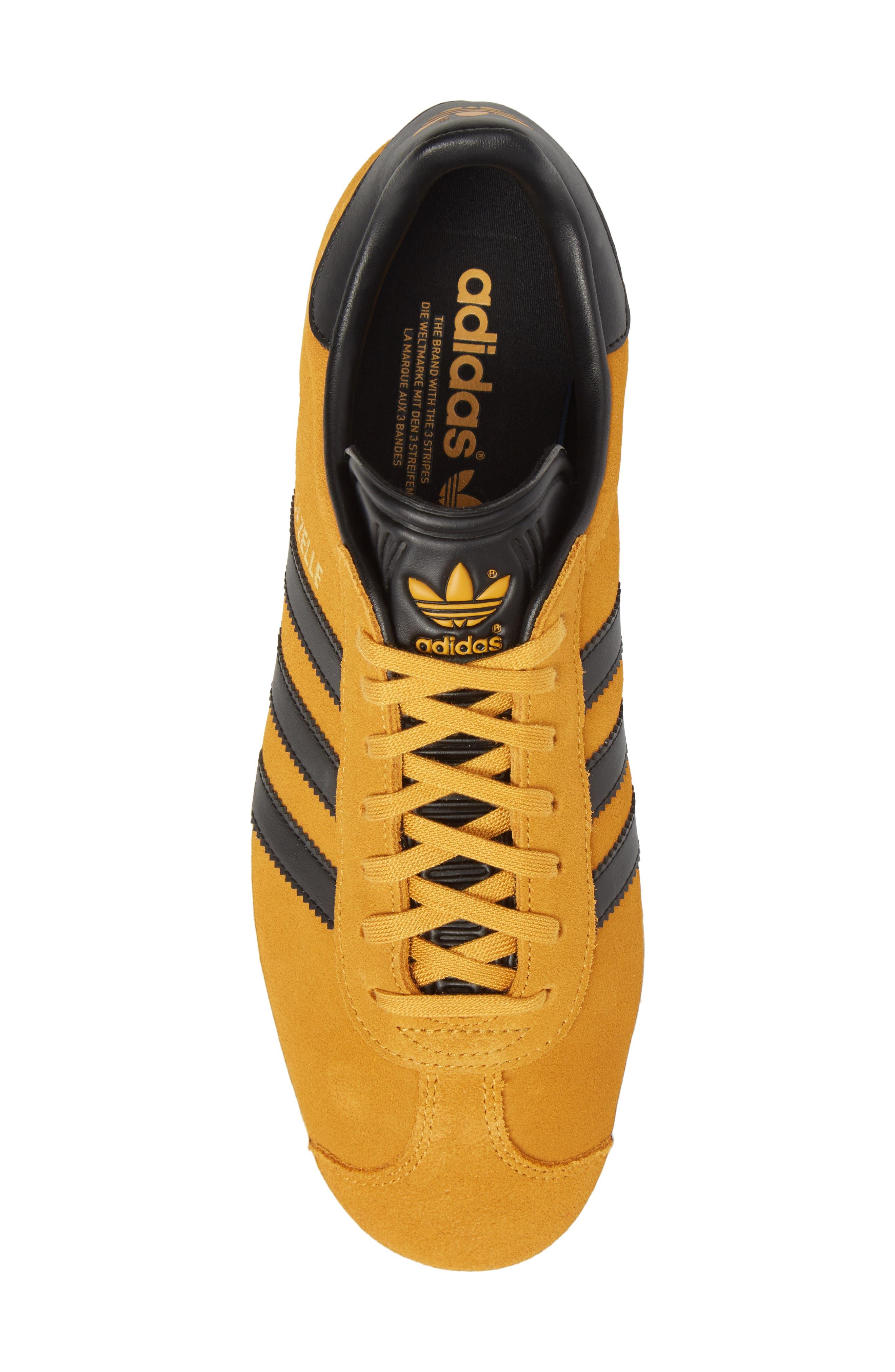 Gazelle Sneaker,                             Alternate thumbnail 5, color,                             Yellow/ Core Black/ Gold