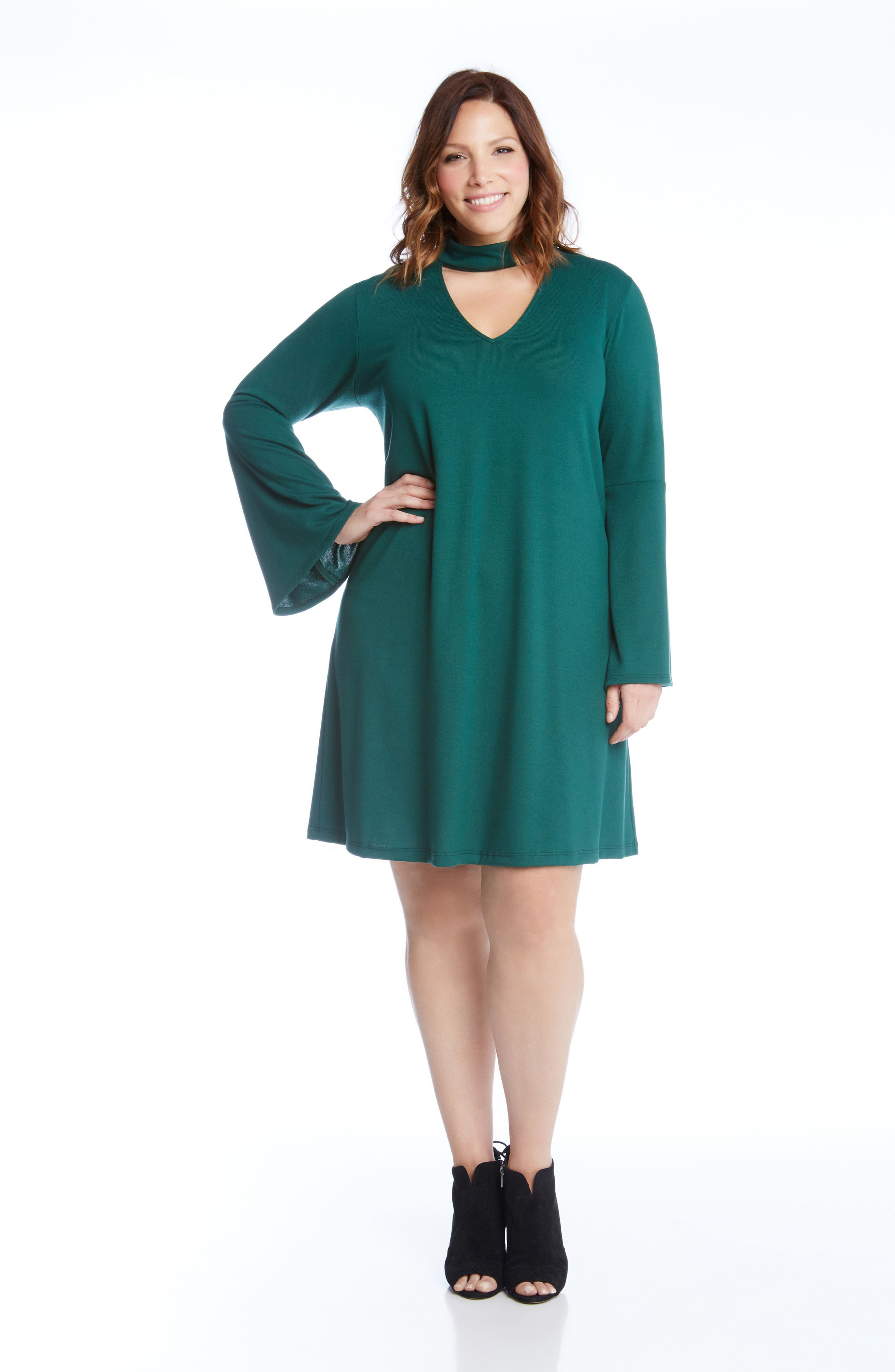 Taylor Choker Neck A-Line Dress,                             Alternate thumbnail 2, color,                             Green