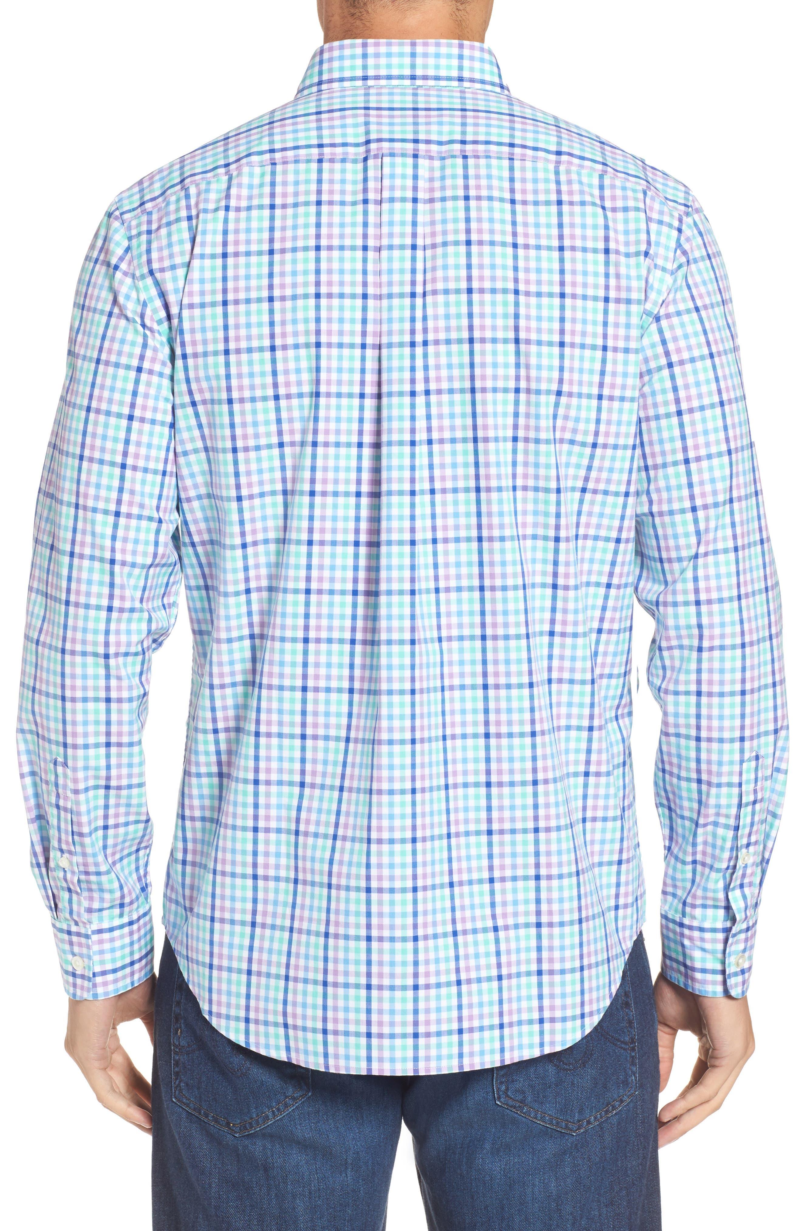 Tucker Gaspar Classic Fit Gingham Sport Shirt,                             Alternate thumbnail 2, color,                             Antigua Green