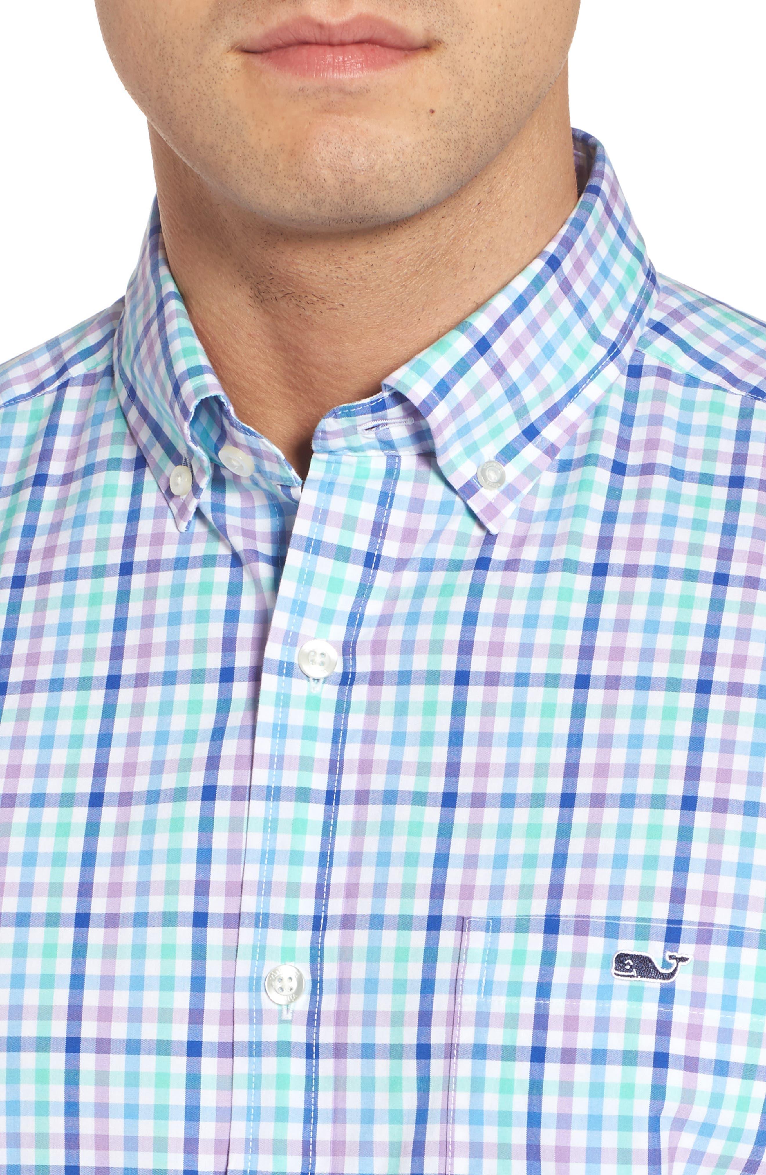 Tucker Gaspar Classic Fit Gingham Sport Shirt,                             Alternate thumbnail 4, color,                             Antigua Green