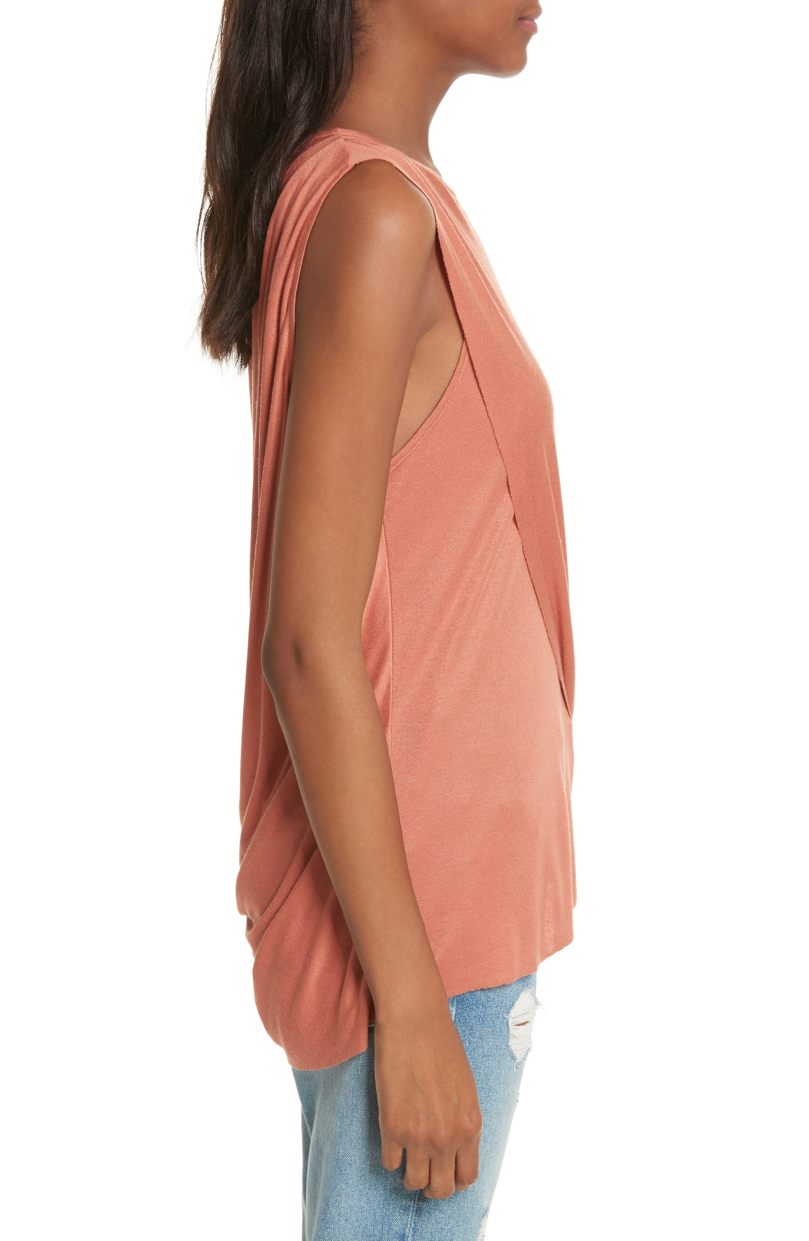 Willow Shine One-Shoulder Draped Jersey Tee,                             Alternate thumbnail 3, color,                             Terracotta