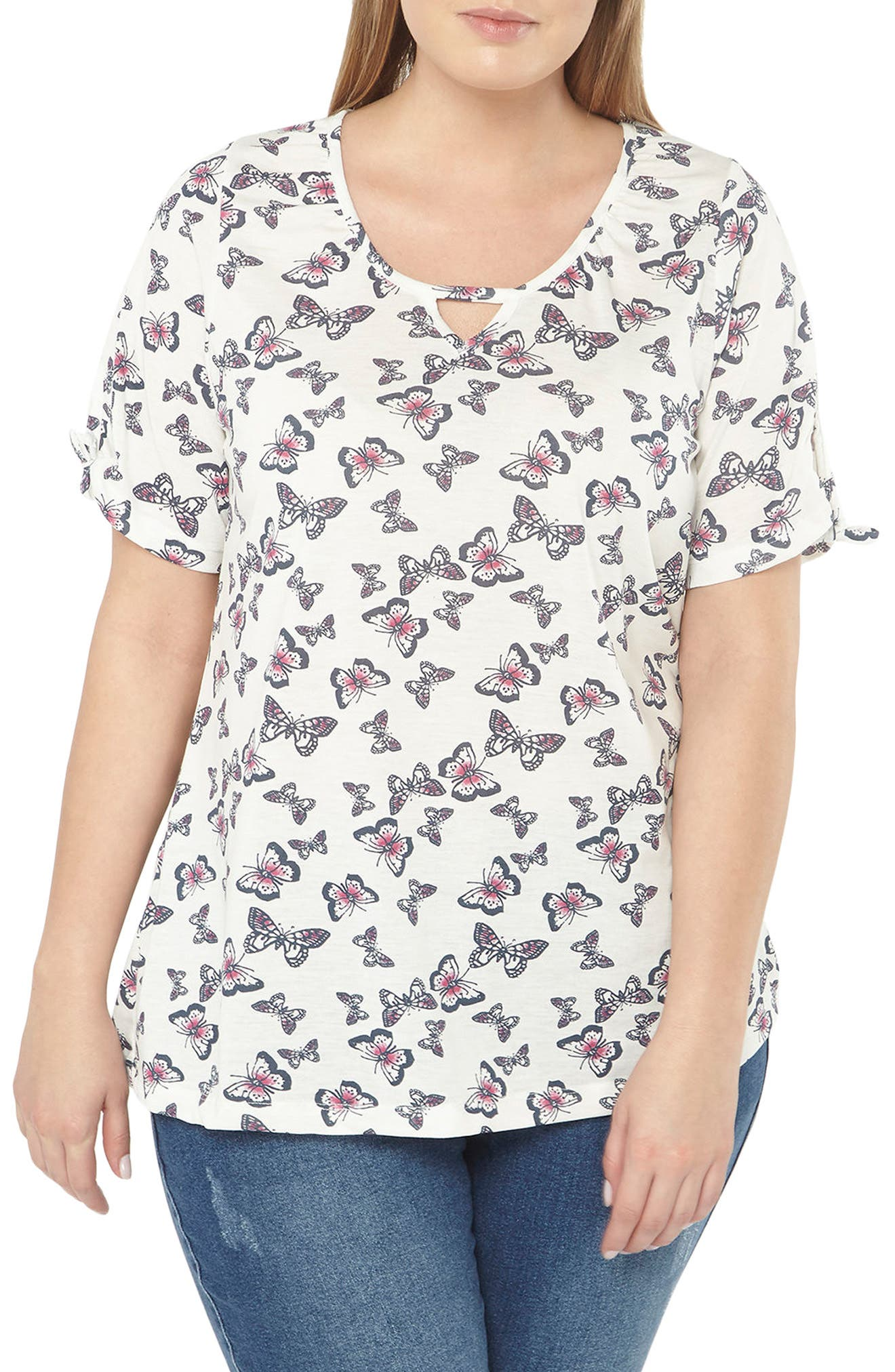 Evans Butterfly Print Top (Plus Size)