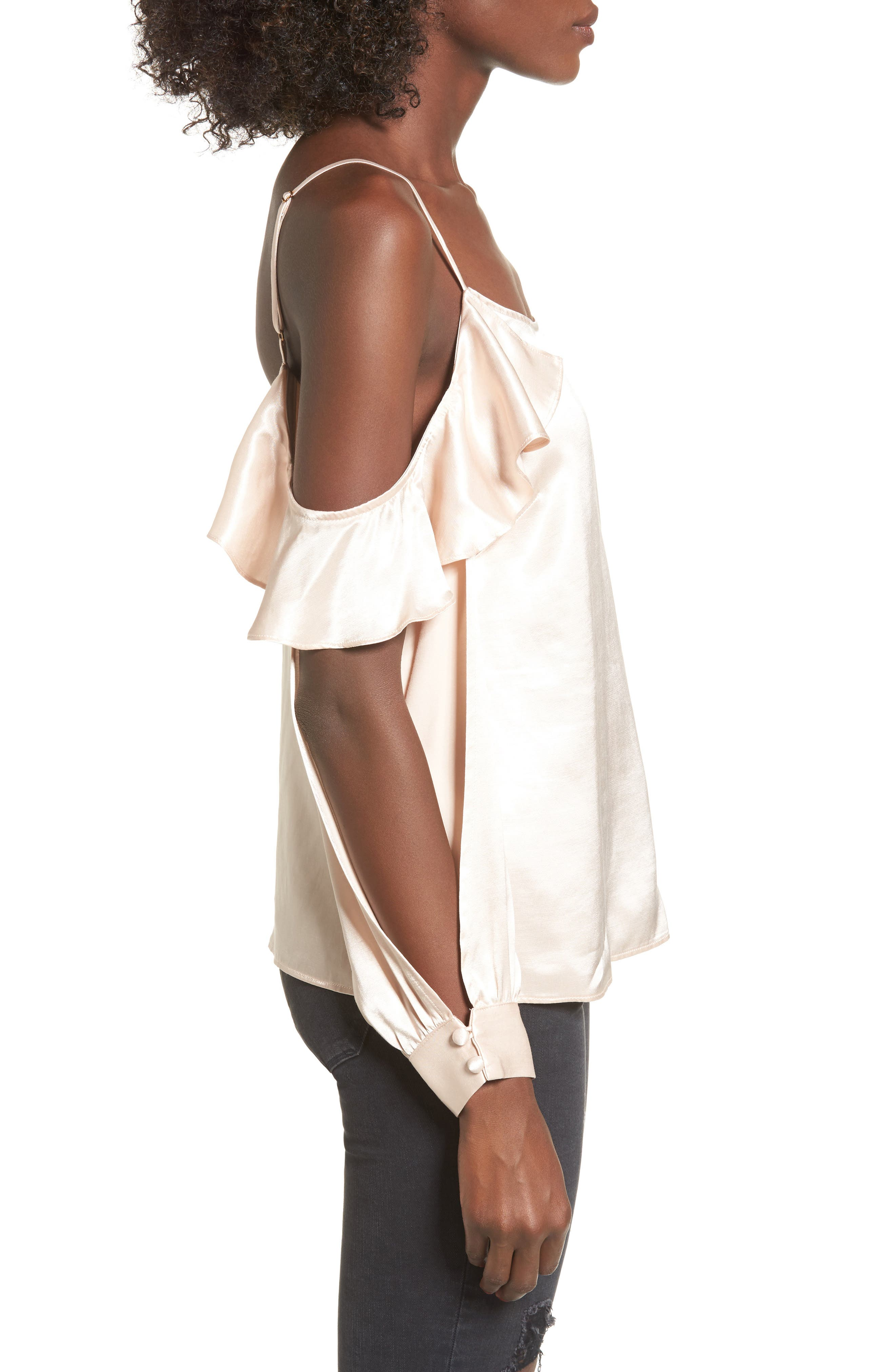 L'Academie The Open Sleeve Blouse,                             Alternate thumbnail 3, color,                             Champagne