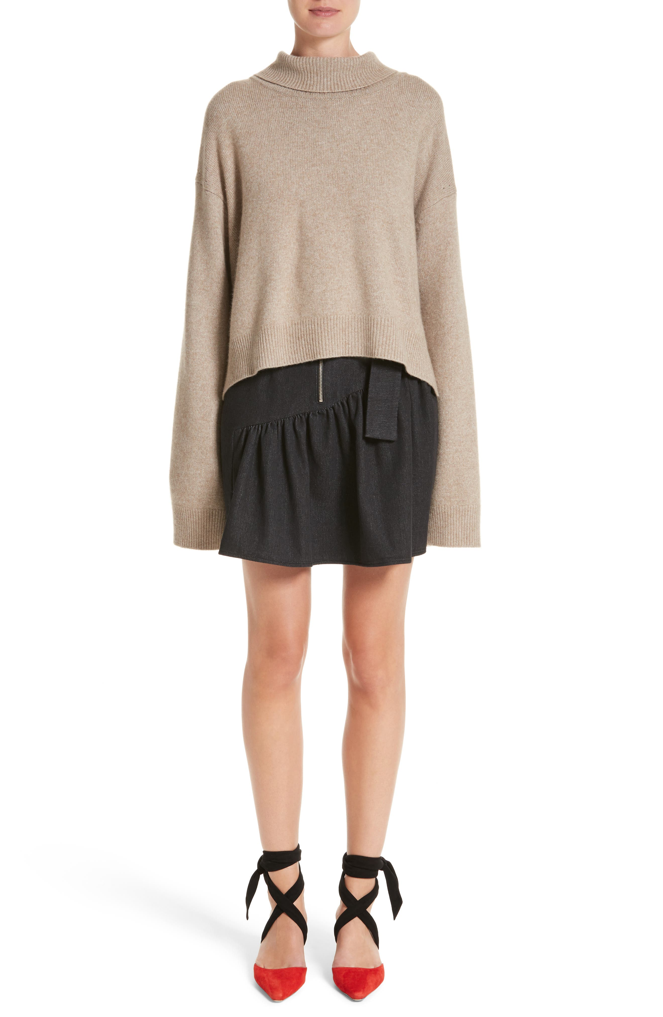 Oversized Tie Back Sweater,                             Alternate thumbnail 8, color,                             Knit Beige