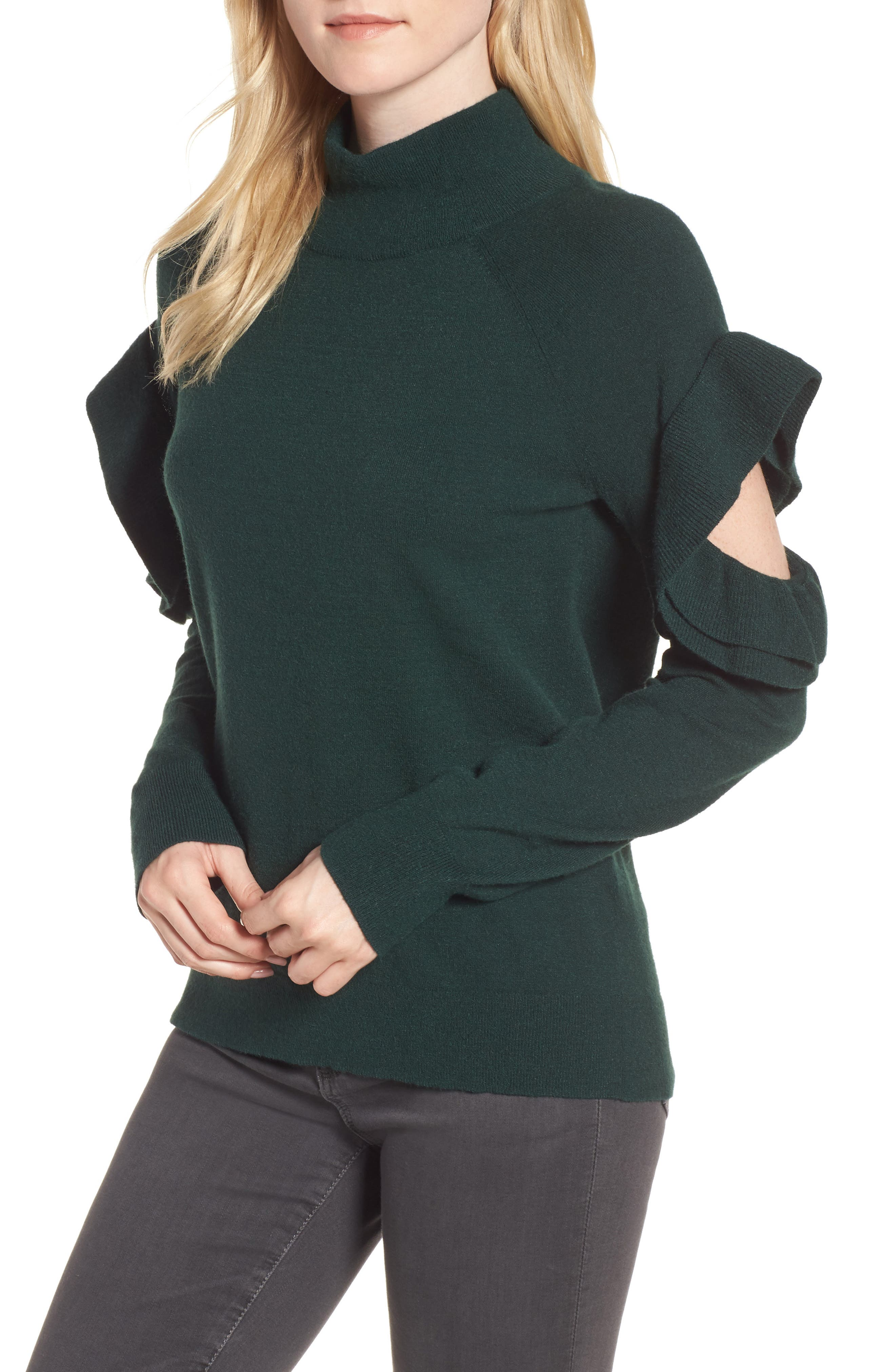 Ruffle Sleeve Sweater,                         Main,                         color, Green Park