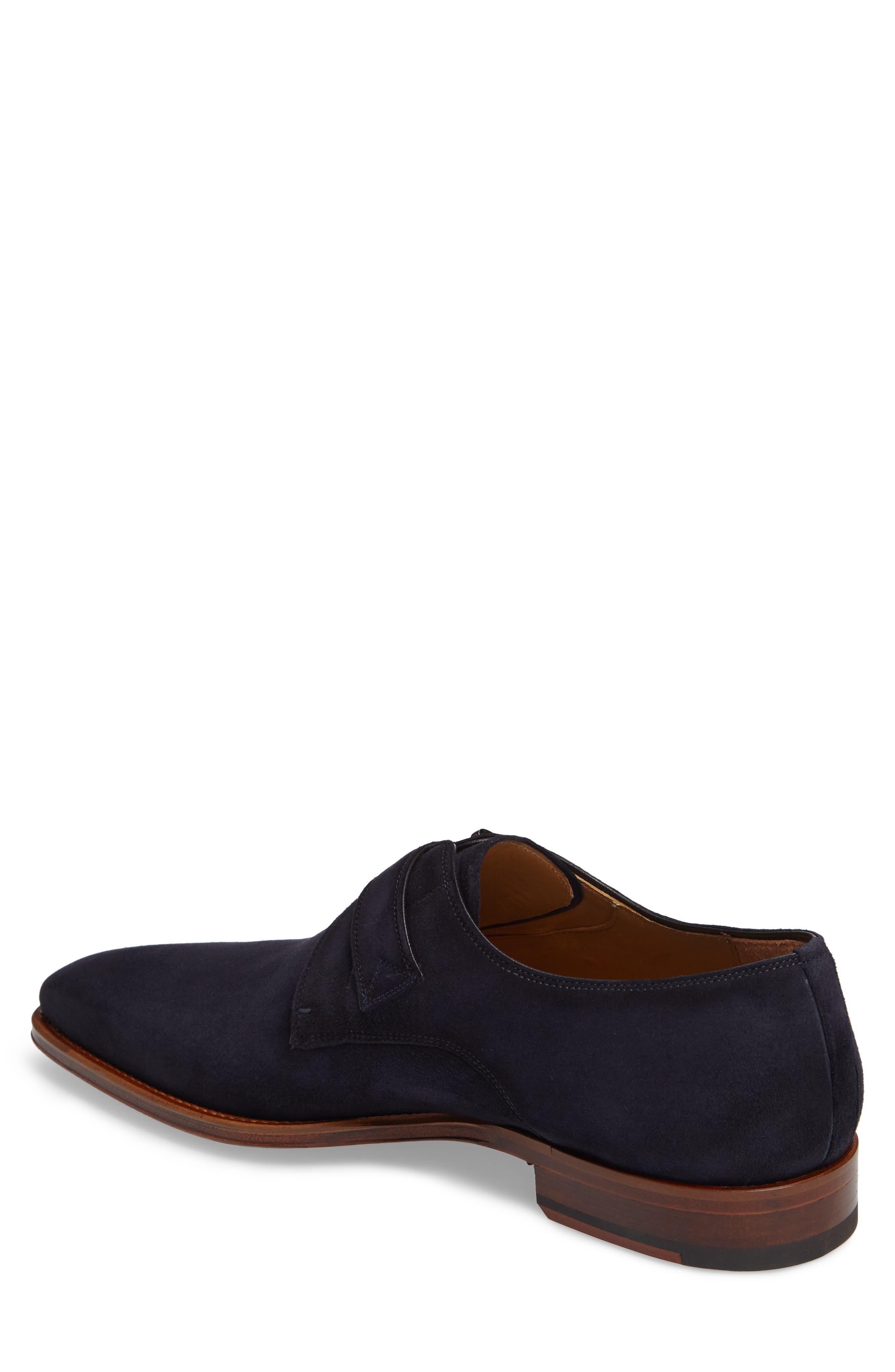 Enrique Monk Strap Shoe,                             Alternate thumbnail 2, color,                             Navy Suede