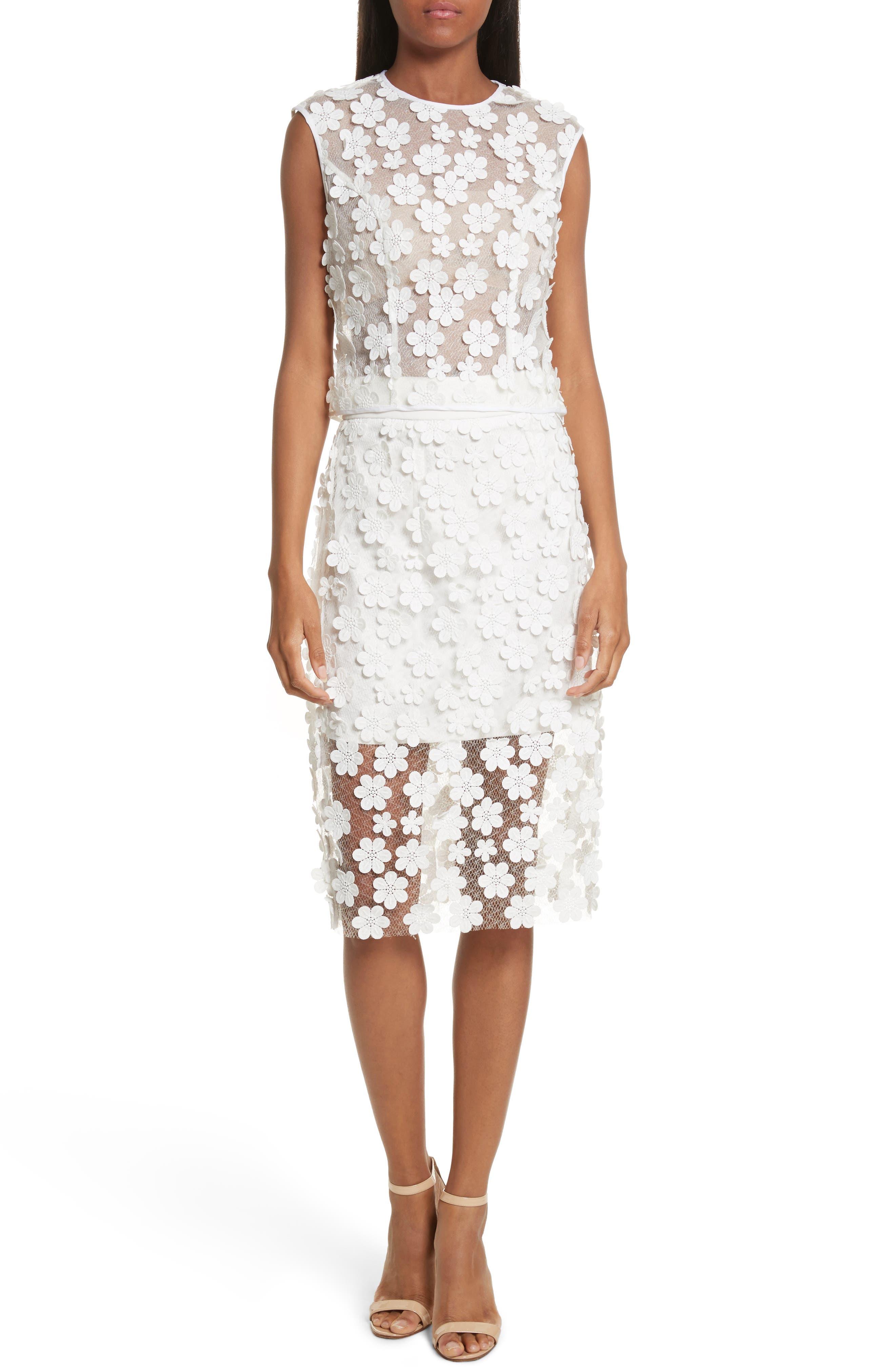 Floral Appliqué Skirt,                             Alternate thumbnail 7, color,                             White
