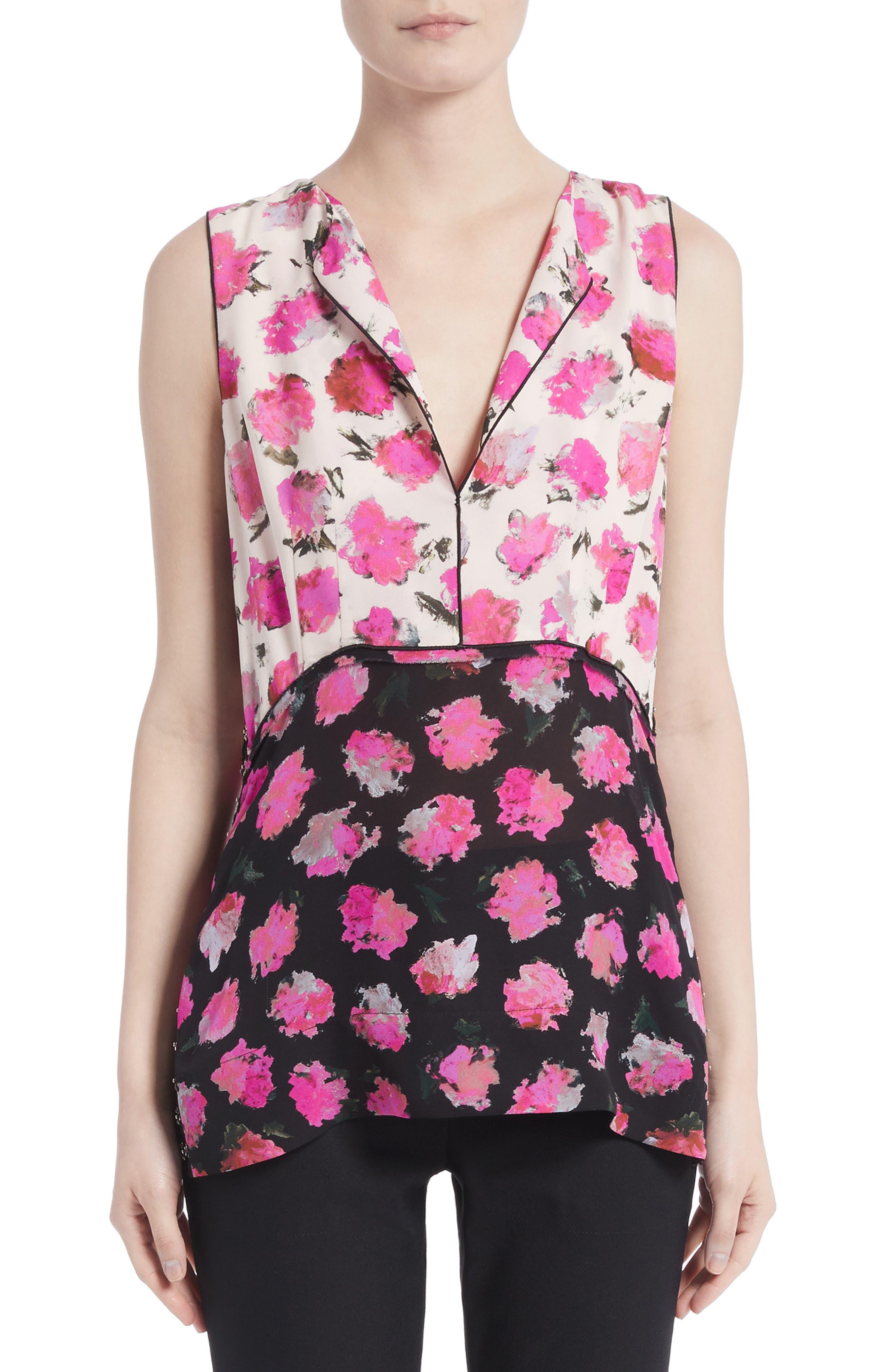 Floral Print Silk Georgette Top,                         Main,                         color, Black/ Fucshia Carnation