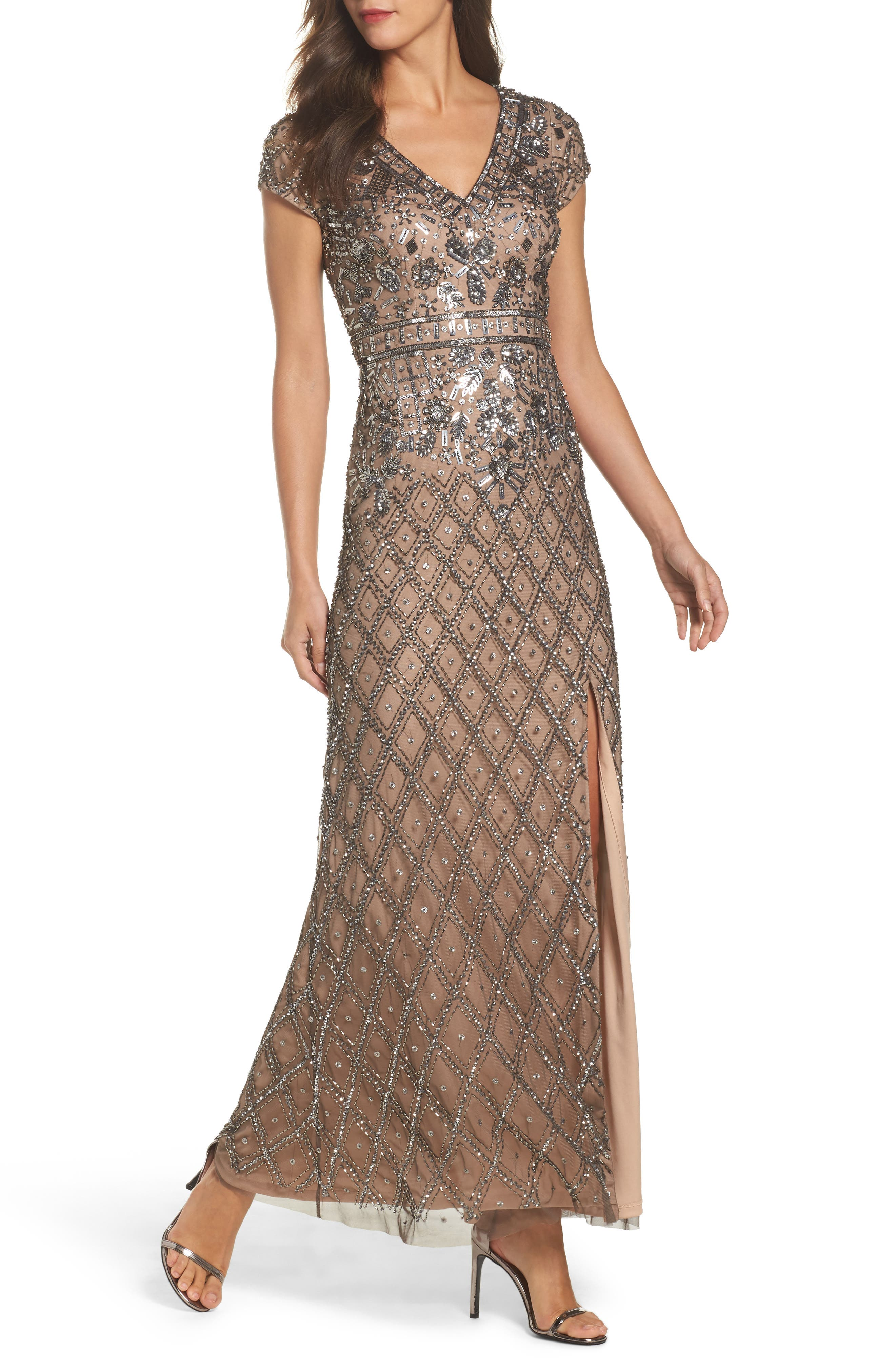 Beaded V-Neck Mesh Gown,                         Main,                         color, Lead/ Nude