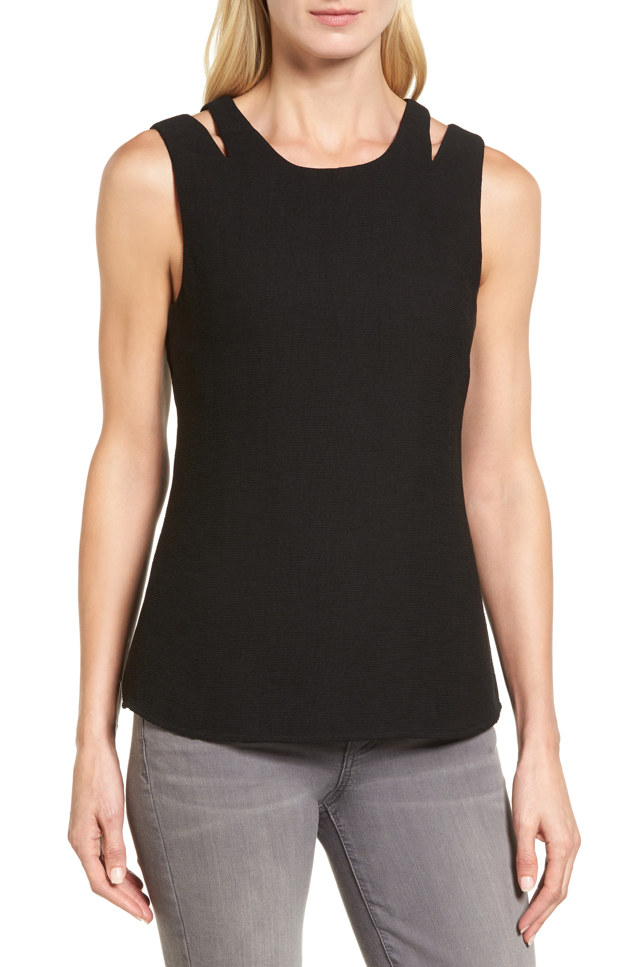Tiered Texture Tank,                         Main,                         color, Black Onyx