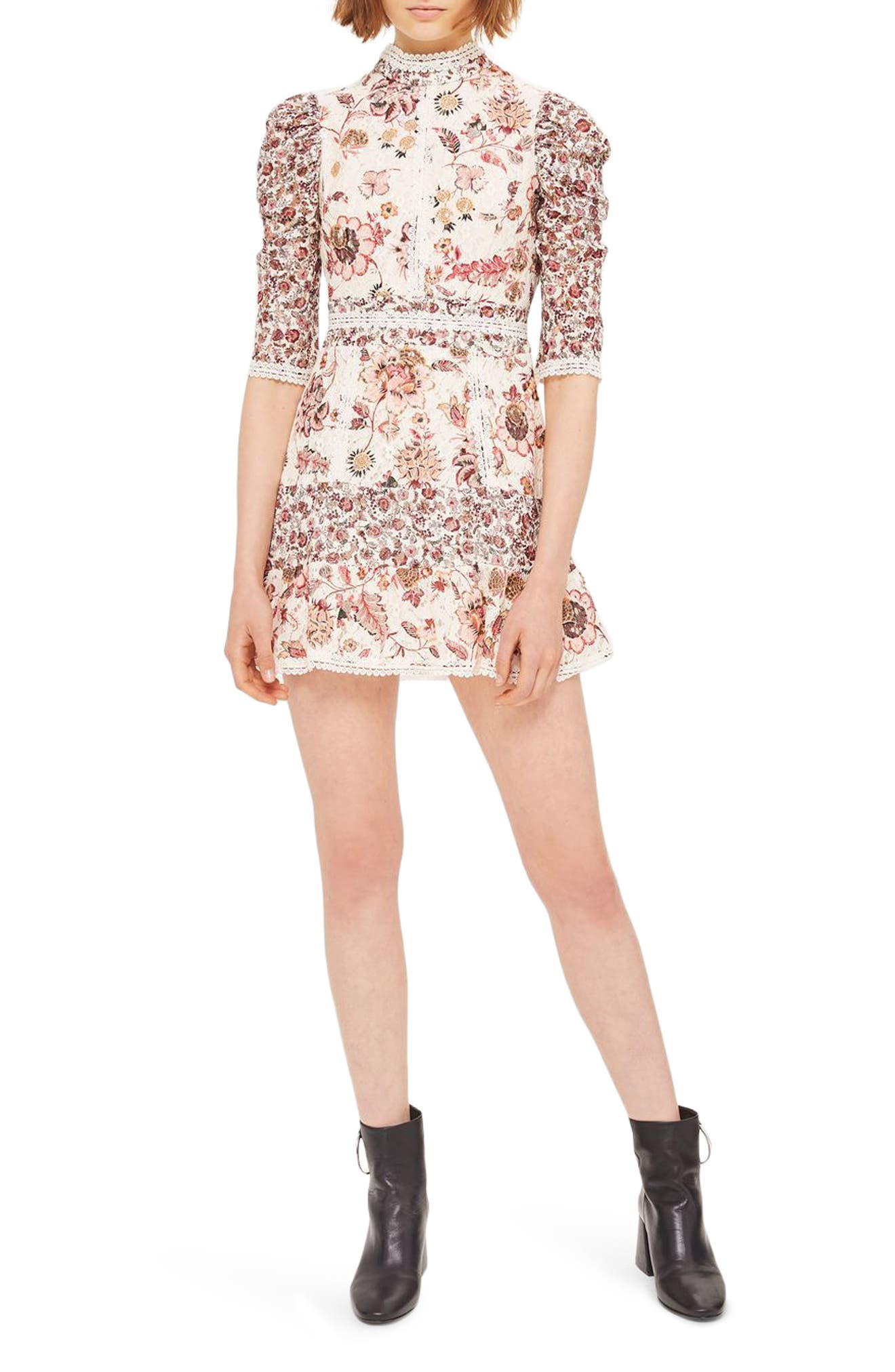 Main Image - Topshop Floral Lace Strappy Back Dress