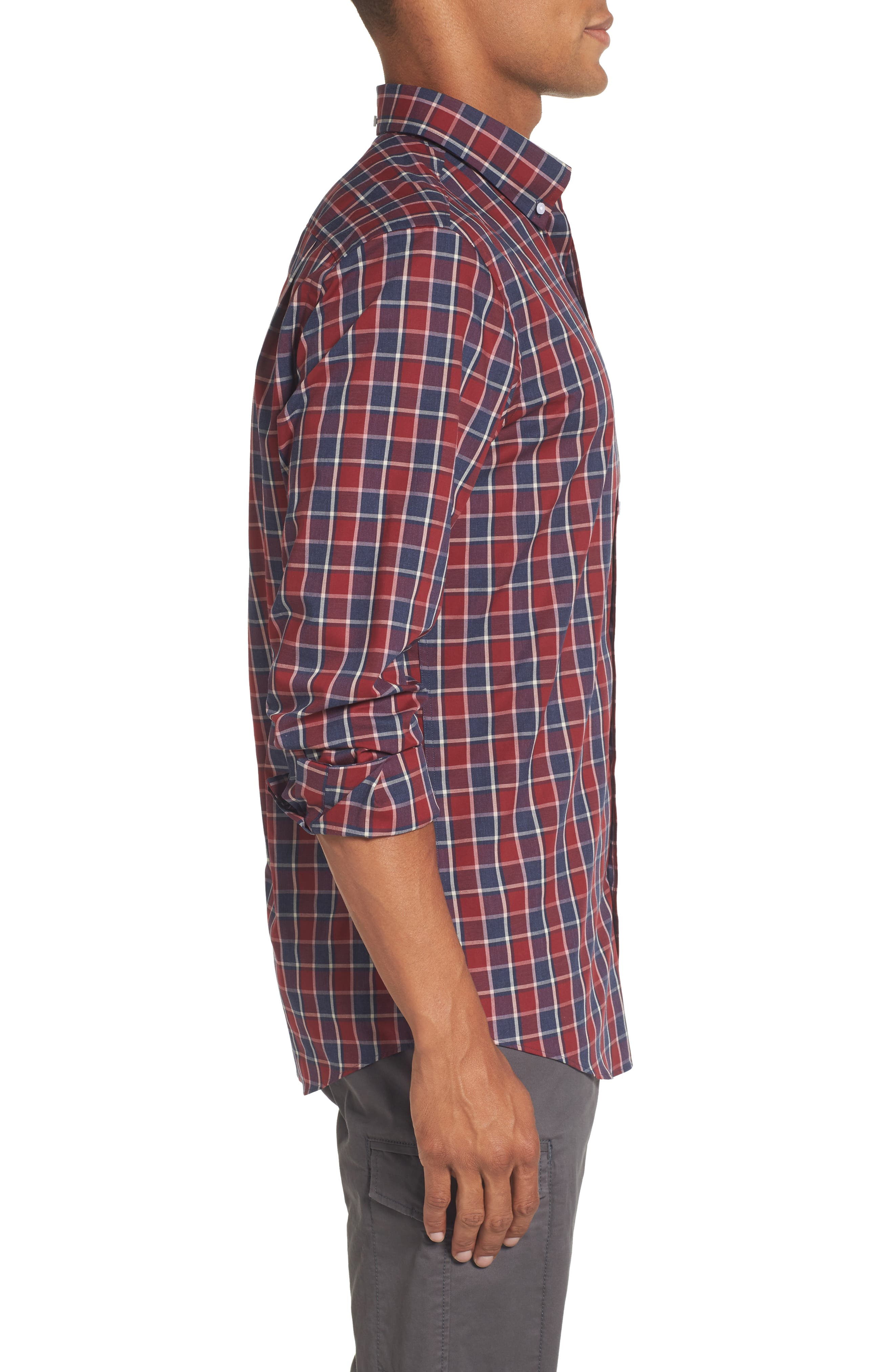 Non-Iron Check Sport Shirt,                             Alternate thumbnail 3, color,                             Red Ruby Heathered Check