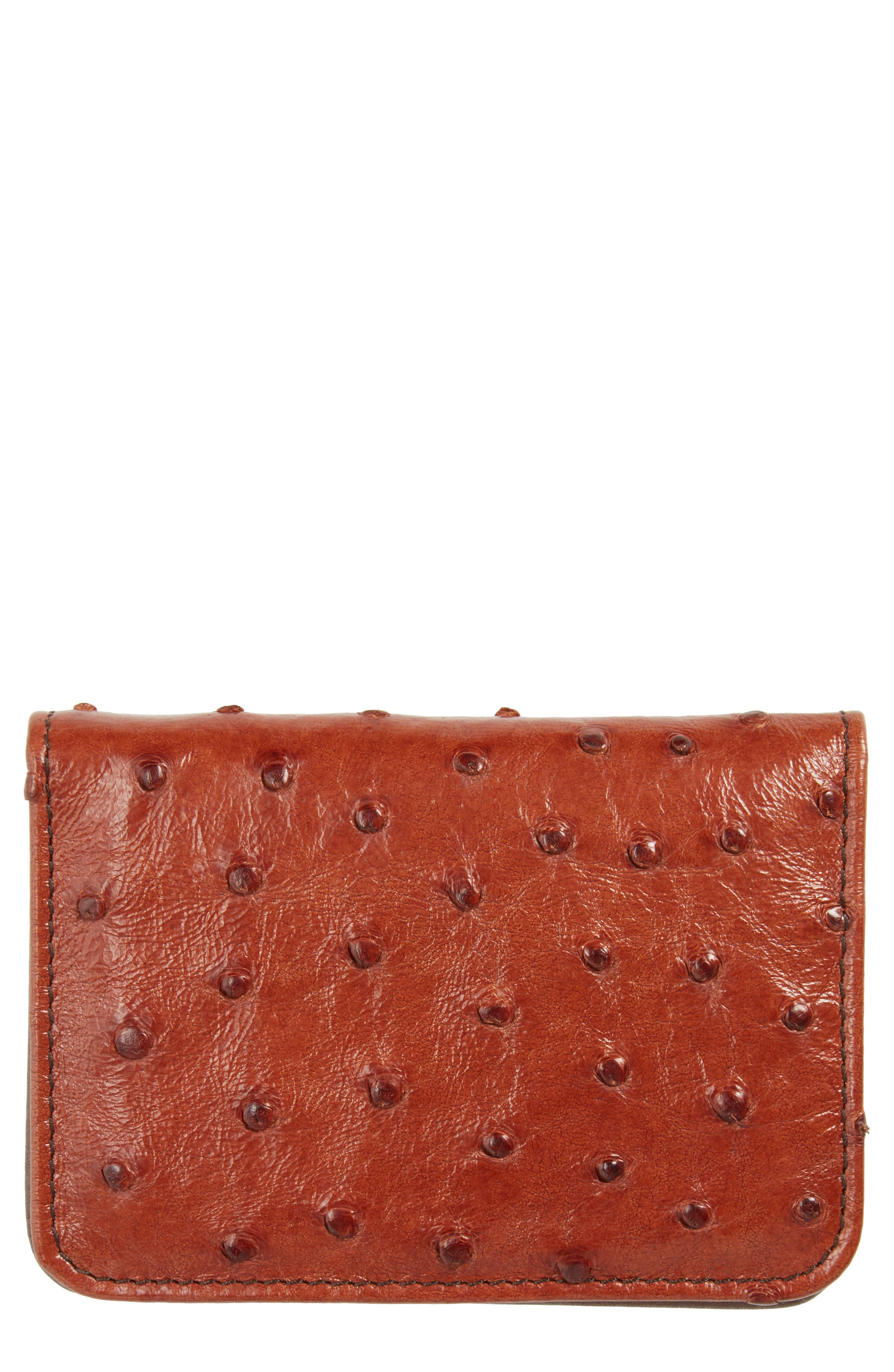 Alternate Image 1 Selected - Mezlan Ostrich Leather Card Case