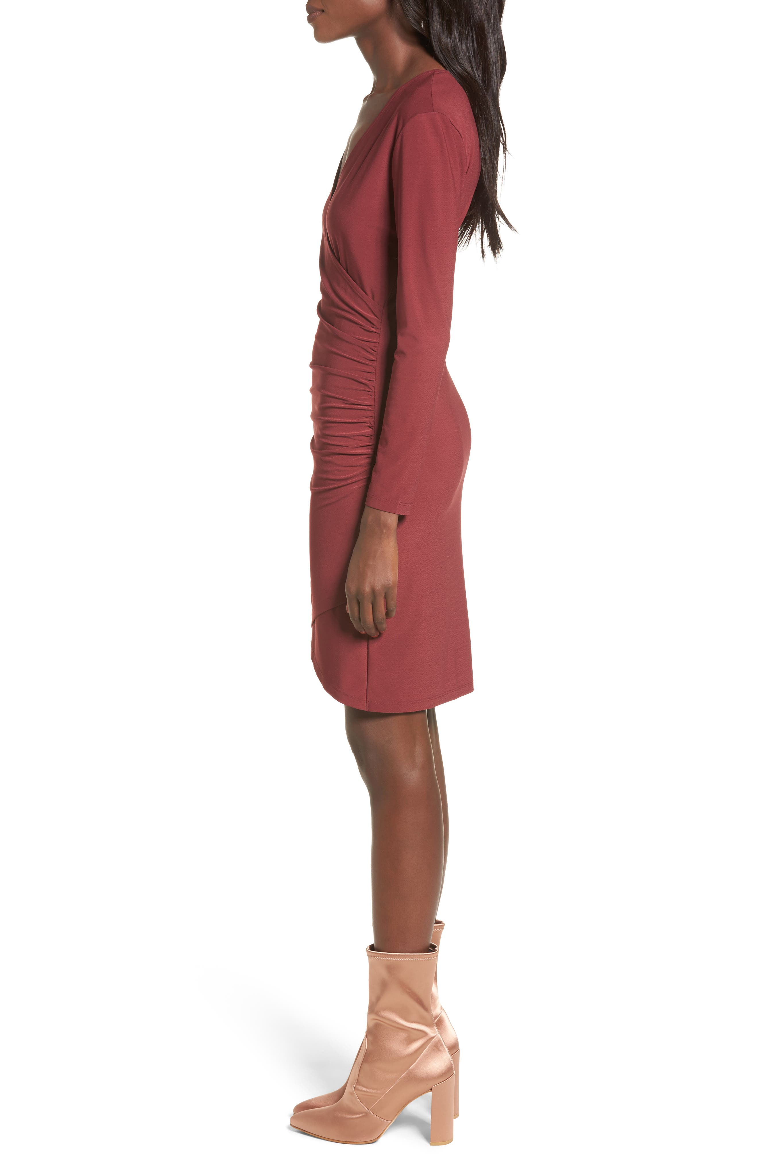 Ruched Sheath Dress,                             Alternate thumbnail 3, color,                             Red Tannin