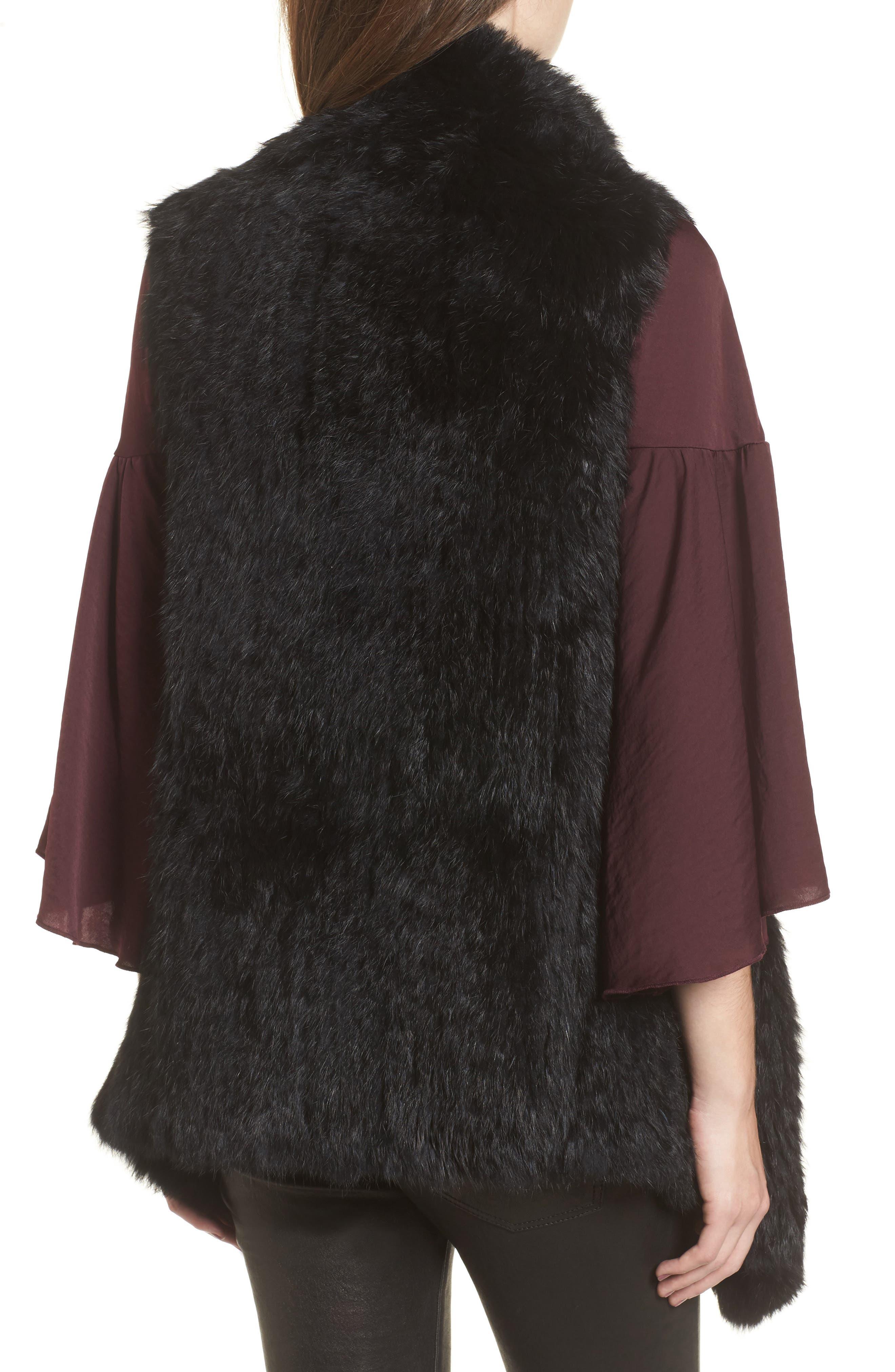Alternate Image 2  - Love Token Long Drape Genuine Rabbit Fur Vest