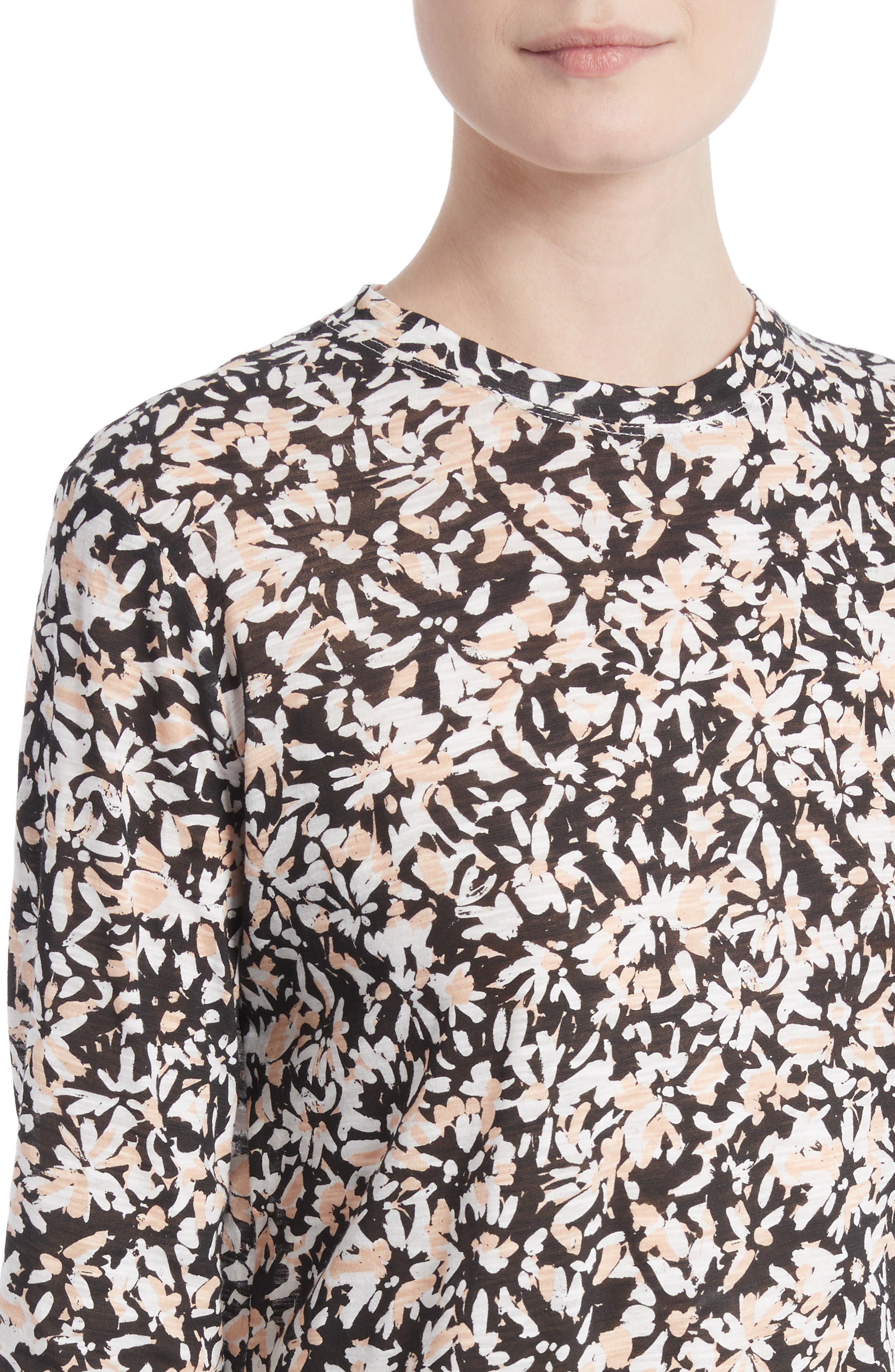 Print Tissue Jersey Tee,                             Alternate thumbnail 4, color,                             Nude/ Black Painted Floral