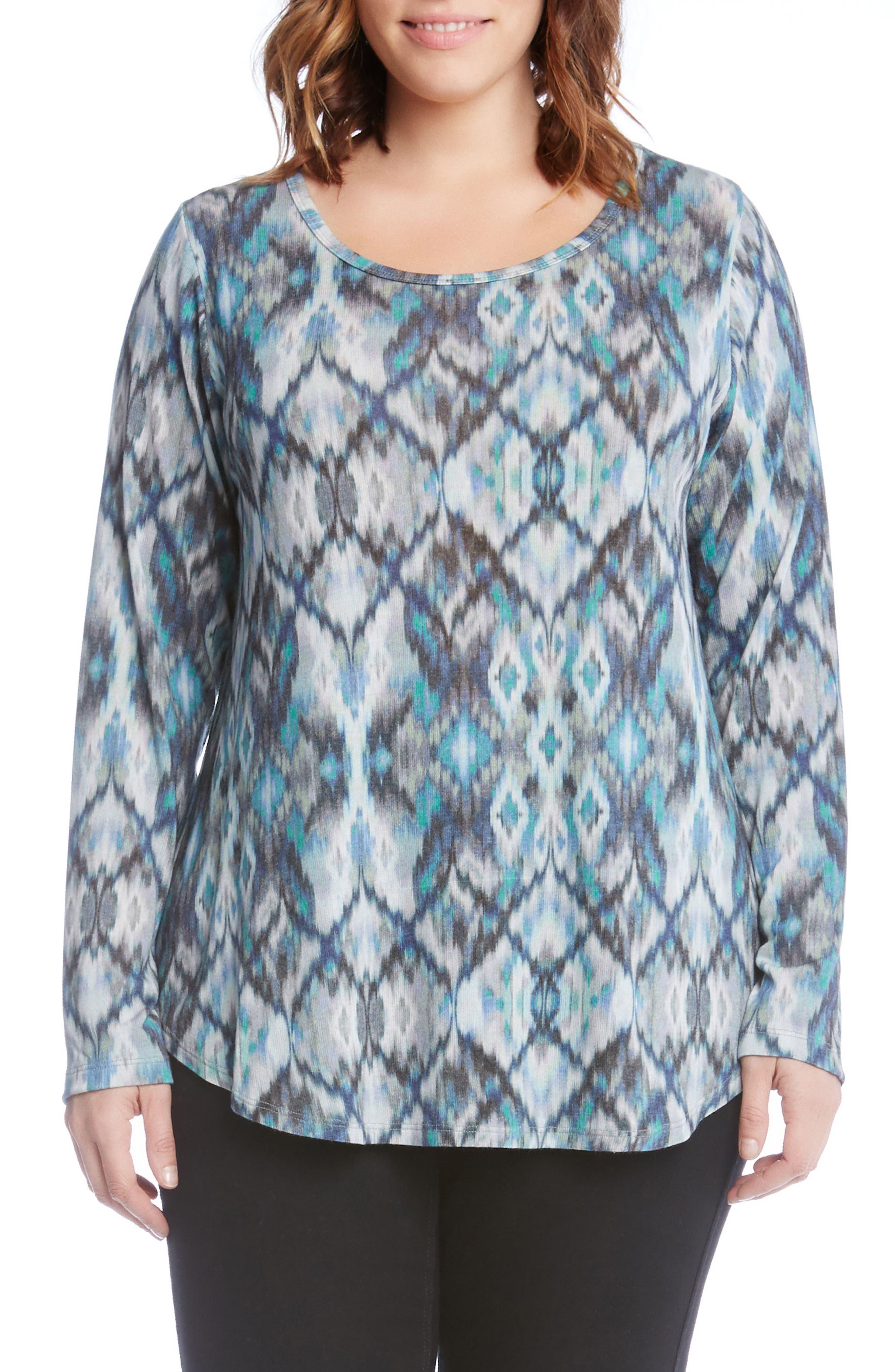 Alternate Image 1 Selected - Karen Kane Print Shirttail Top (Plus Size)