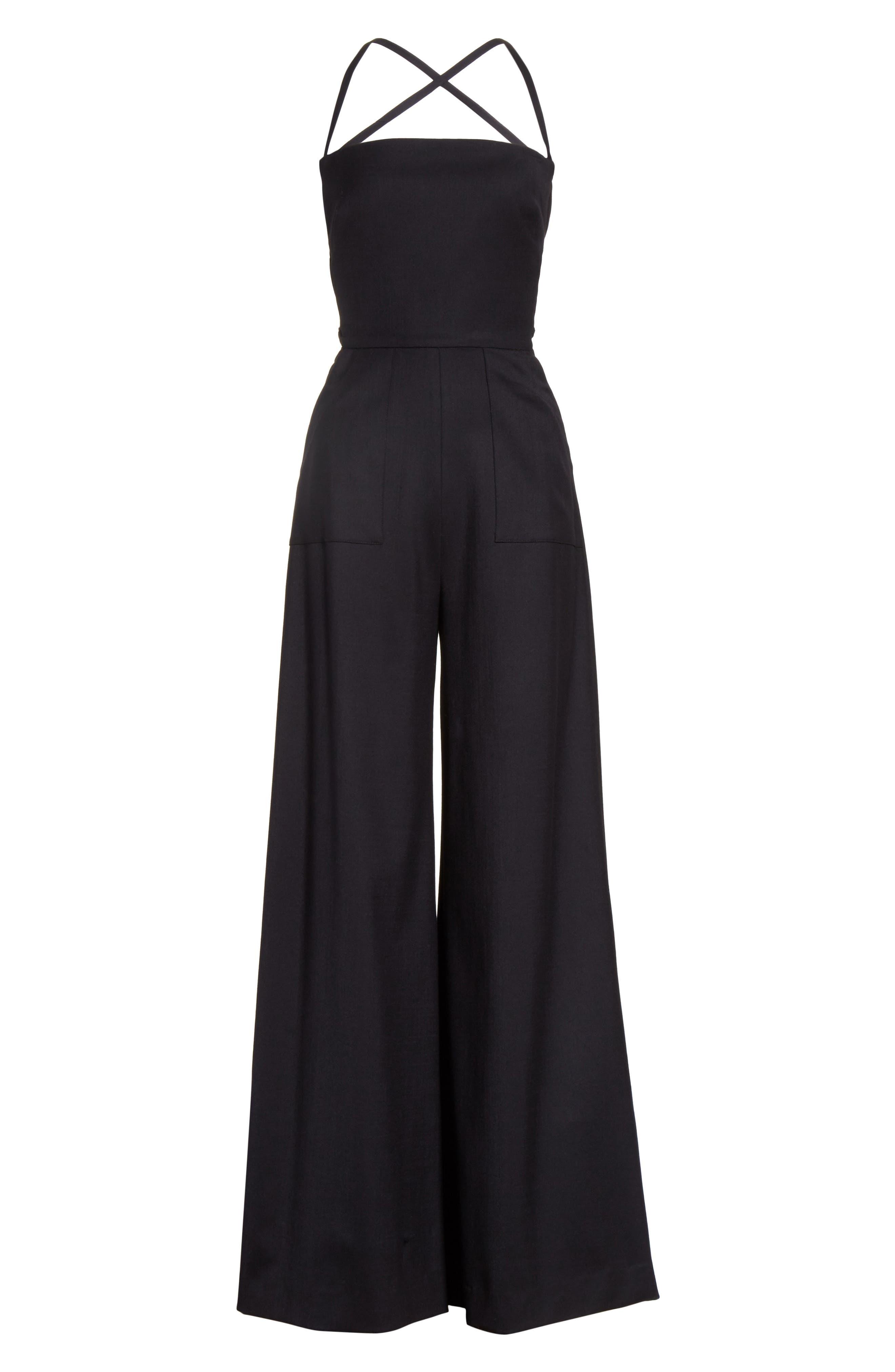 Italian Wool Gabardine Apron Jumpsuit,                             Alternate thumbnail 6, color,                             Black