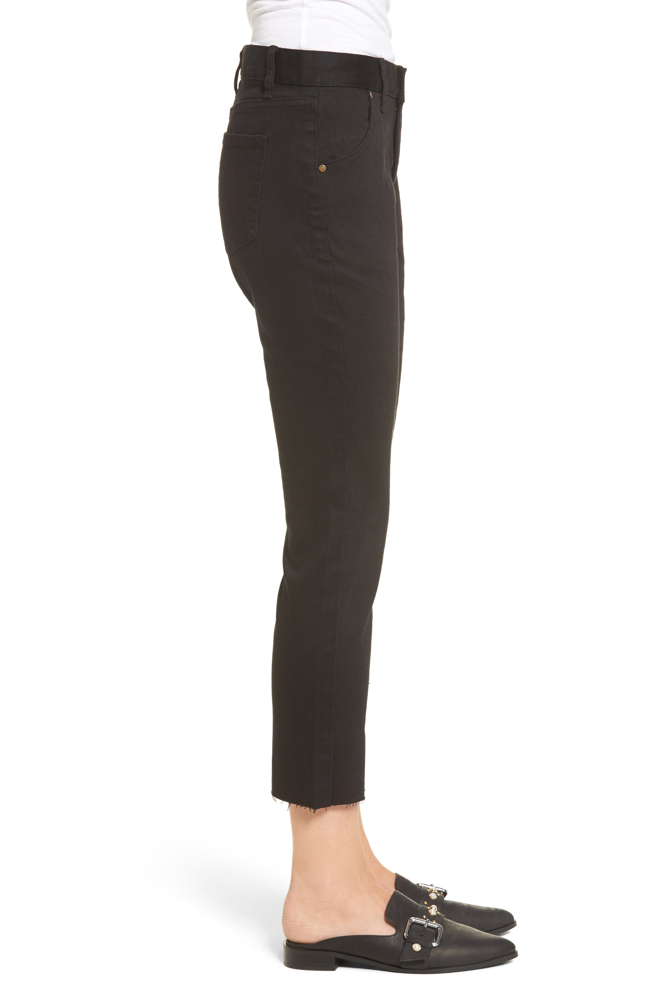 Hermosa Vented Crop Skinny Jeans,                             Alternate thumbnail 4, color,                             Black